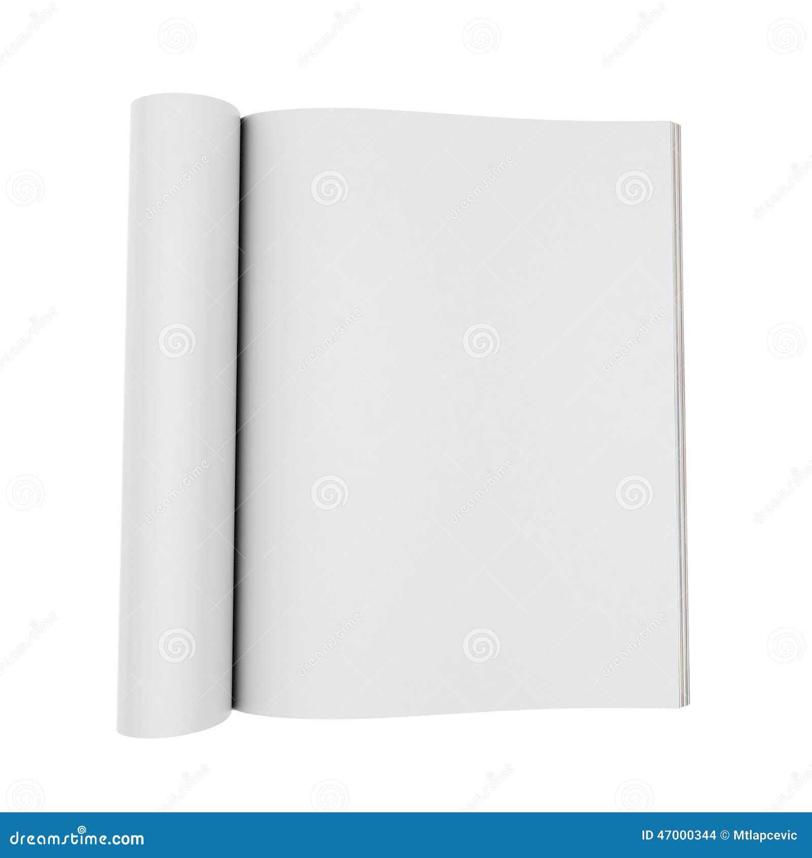 Mock Up Model Of Blank Opened Magazines Isolated On White