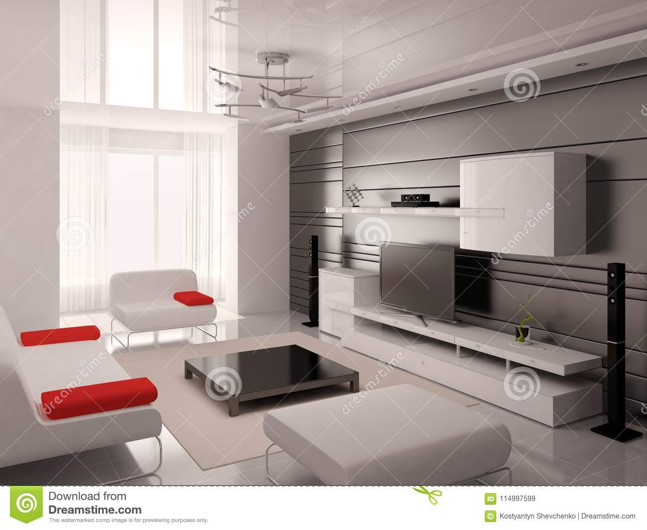 Mock Up A Modern Living Room With A Fashionable Interior. Stock ...