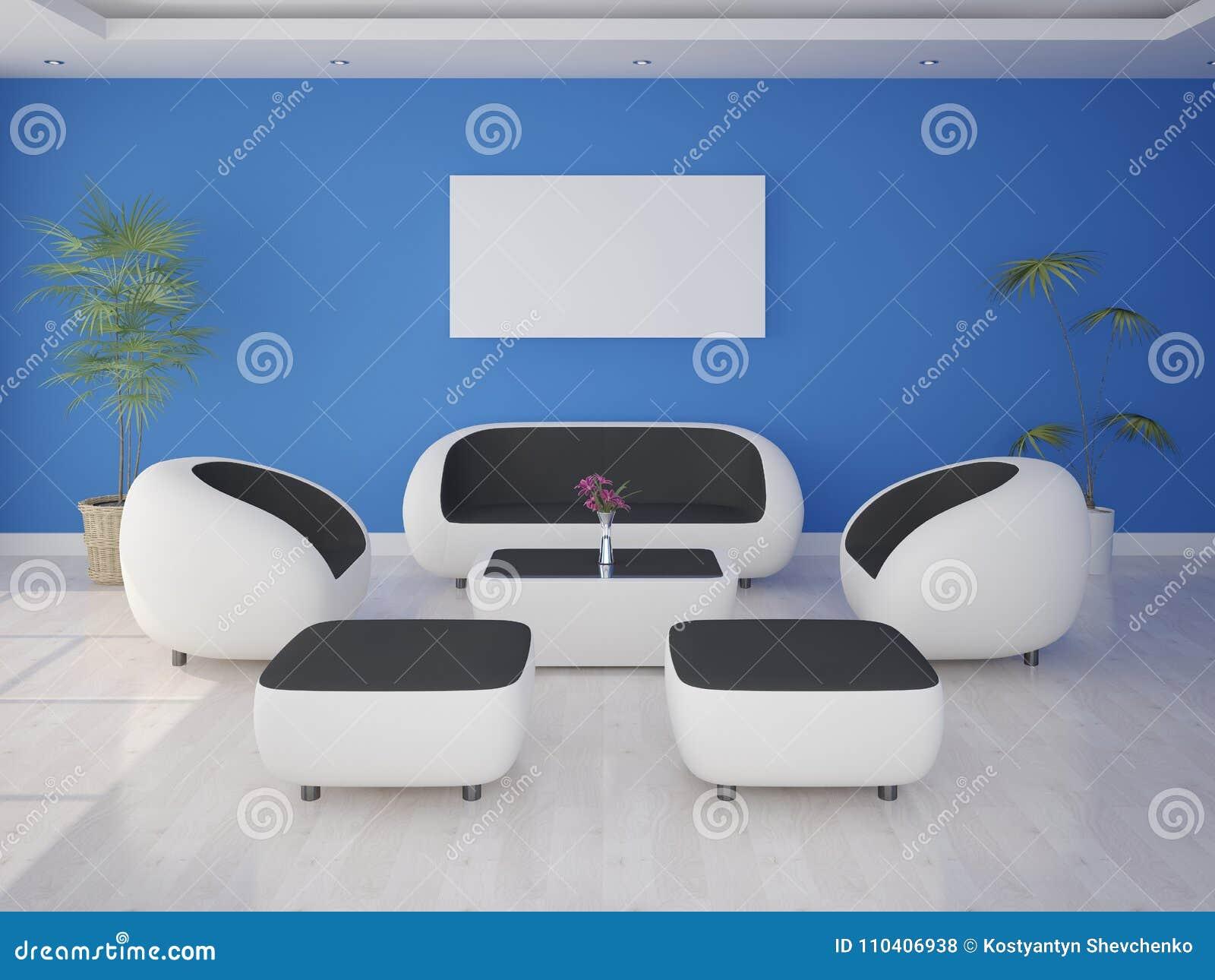 Mock up a modern living room with hi tech furniture