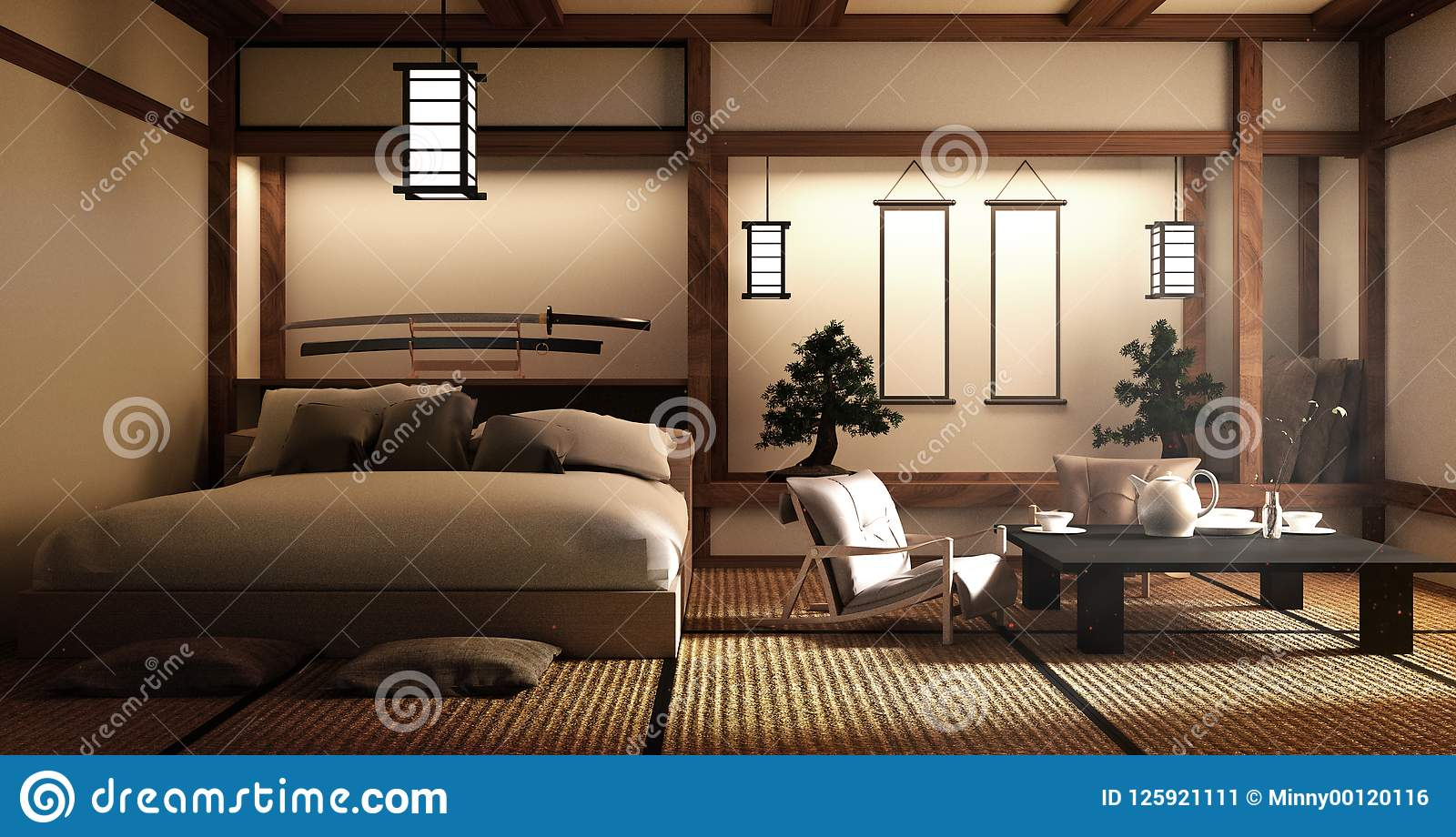 Mock Up - Modern Living Room, Japanese Style. 3d Rendering ...