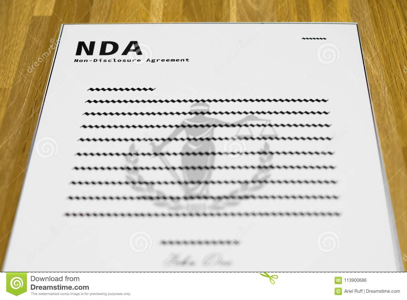 Fake NDA Form Stock Photo Image Of Silence Agreement