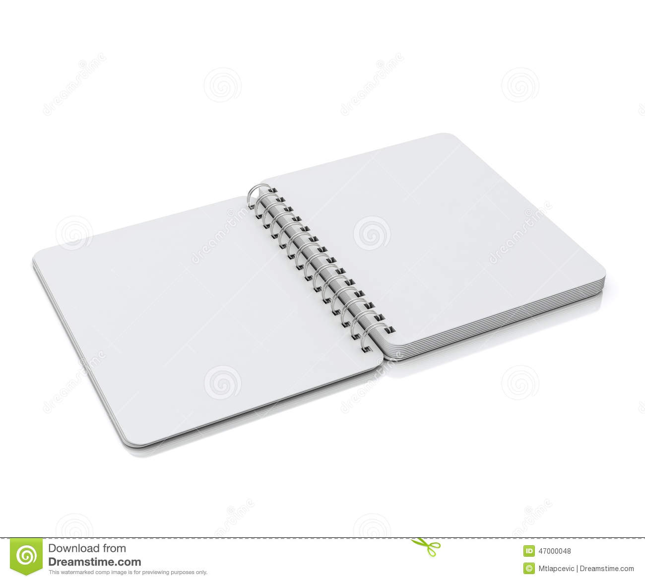 Mock Up Opened Empty Spiral Notebook Lying Isolated On