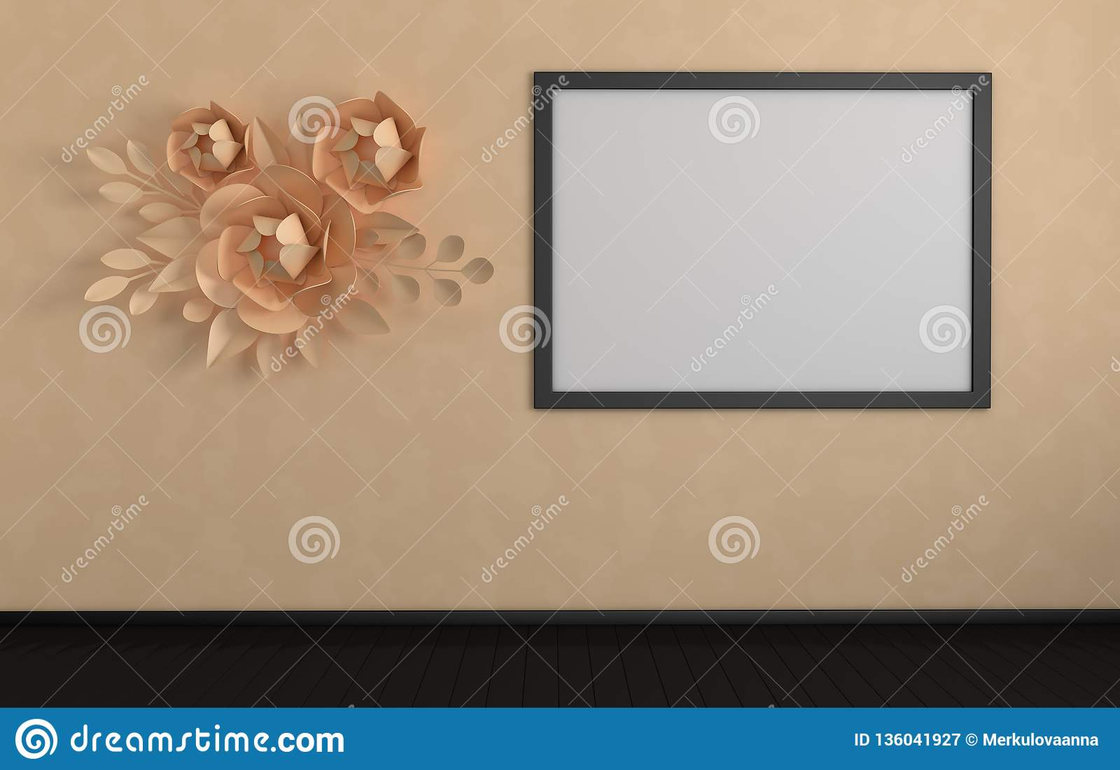 Mock Up Photo Frame In Modern Interior Paper Flowers And Leaves