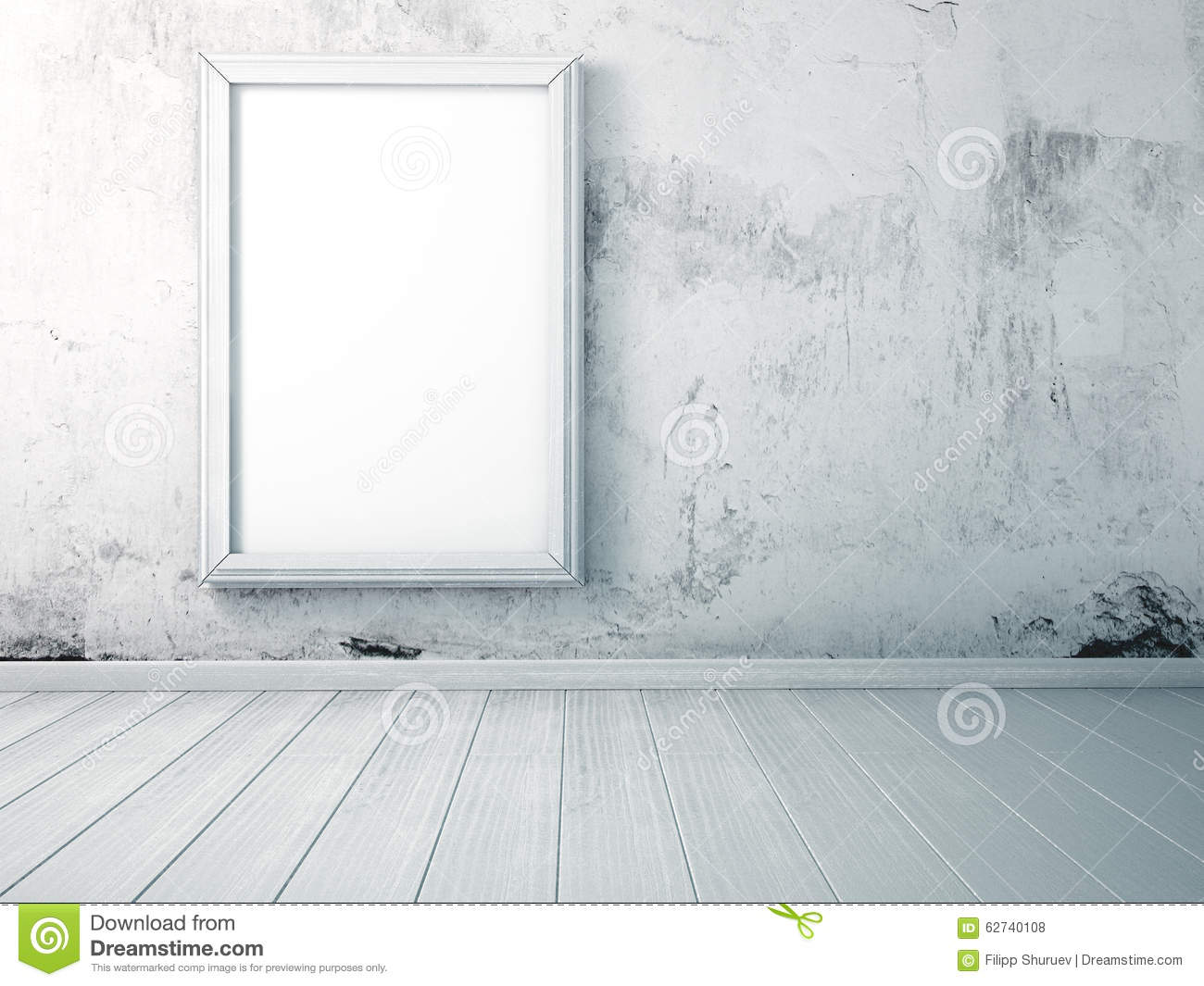 Mock Up Picture In The Frame Standing On A Wooden Floor In The