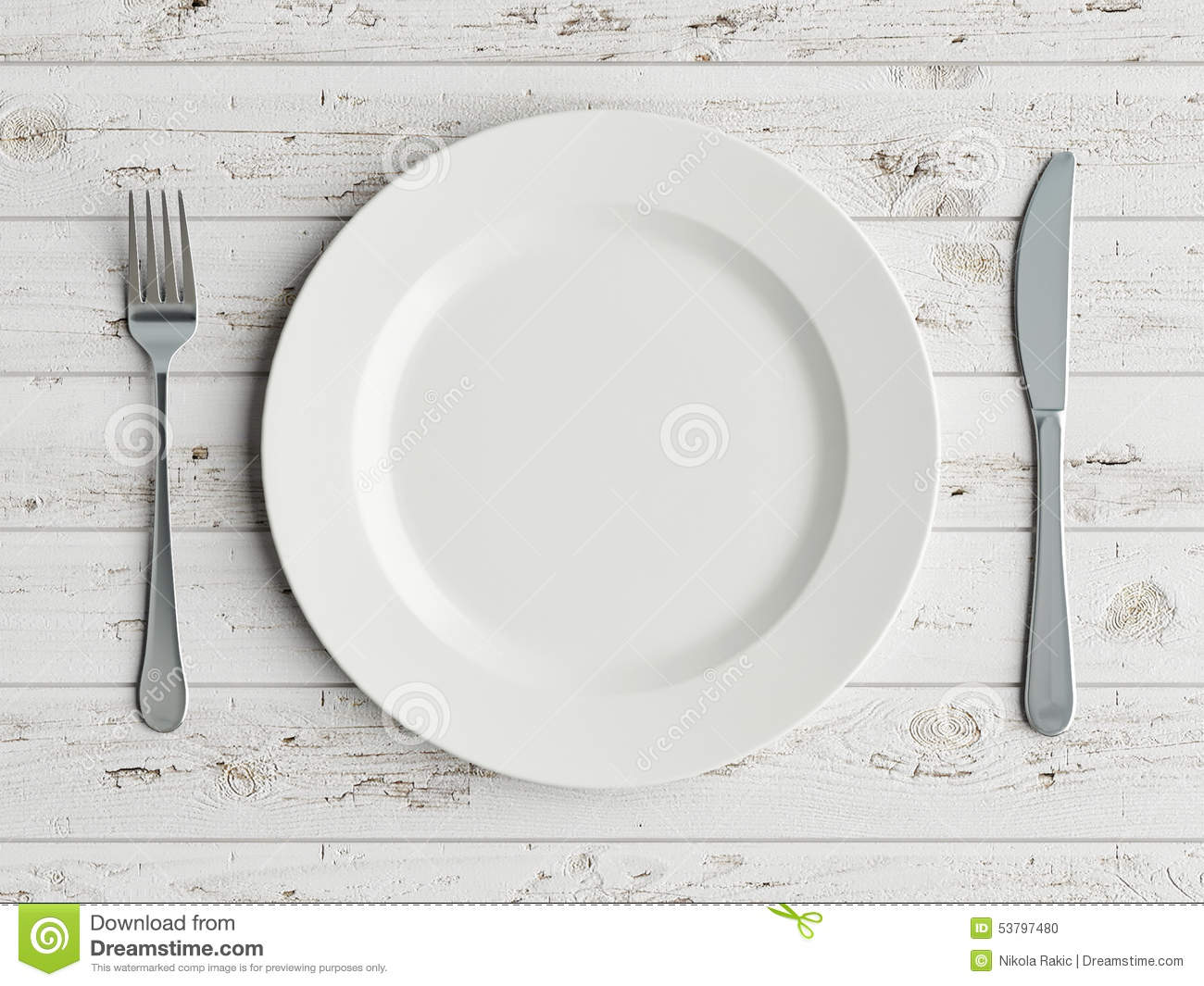 Mock Up Plate On White Wooden Table Stock Illustration