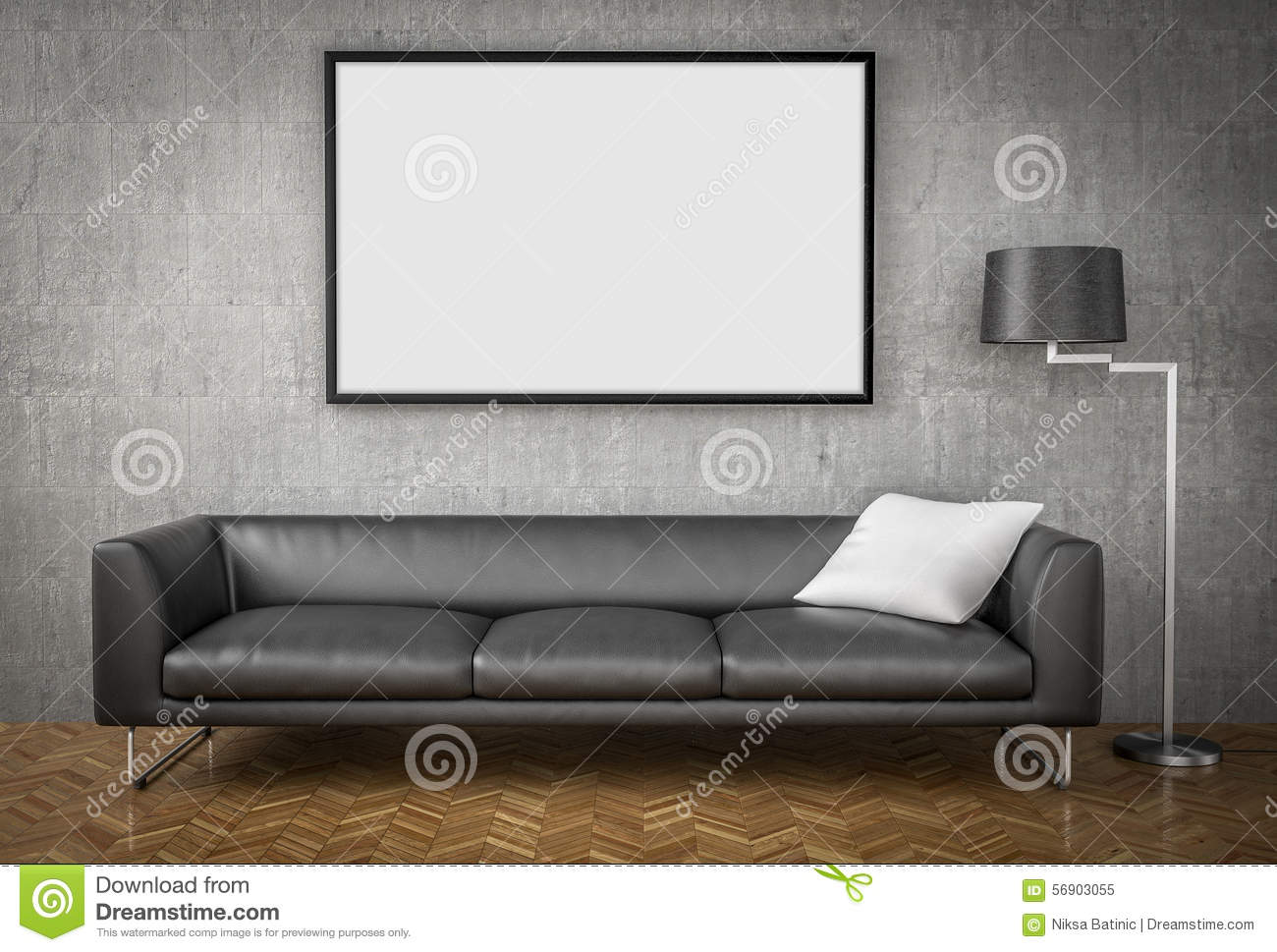 Mock up poster big sofa concrete wall background stock for Big sofa technologies