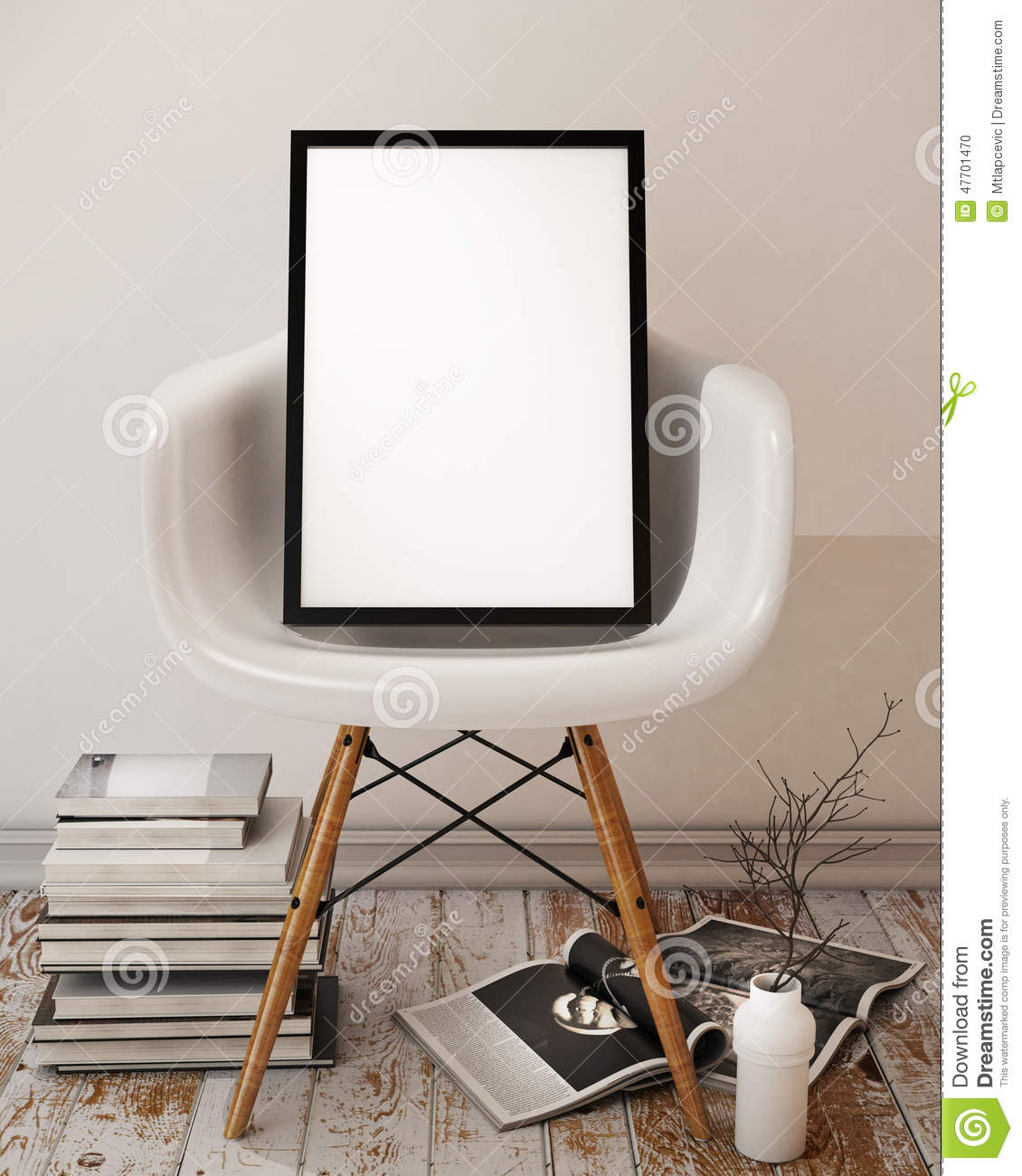 Mock up poster with black frame interior background stock - Interiors by design picture frames ...