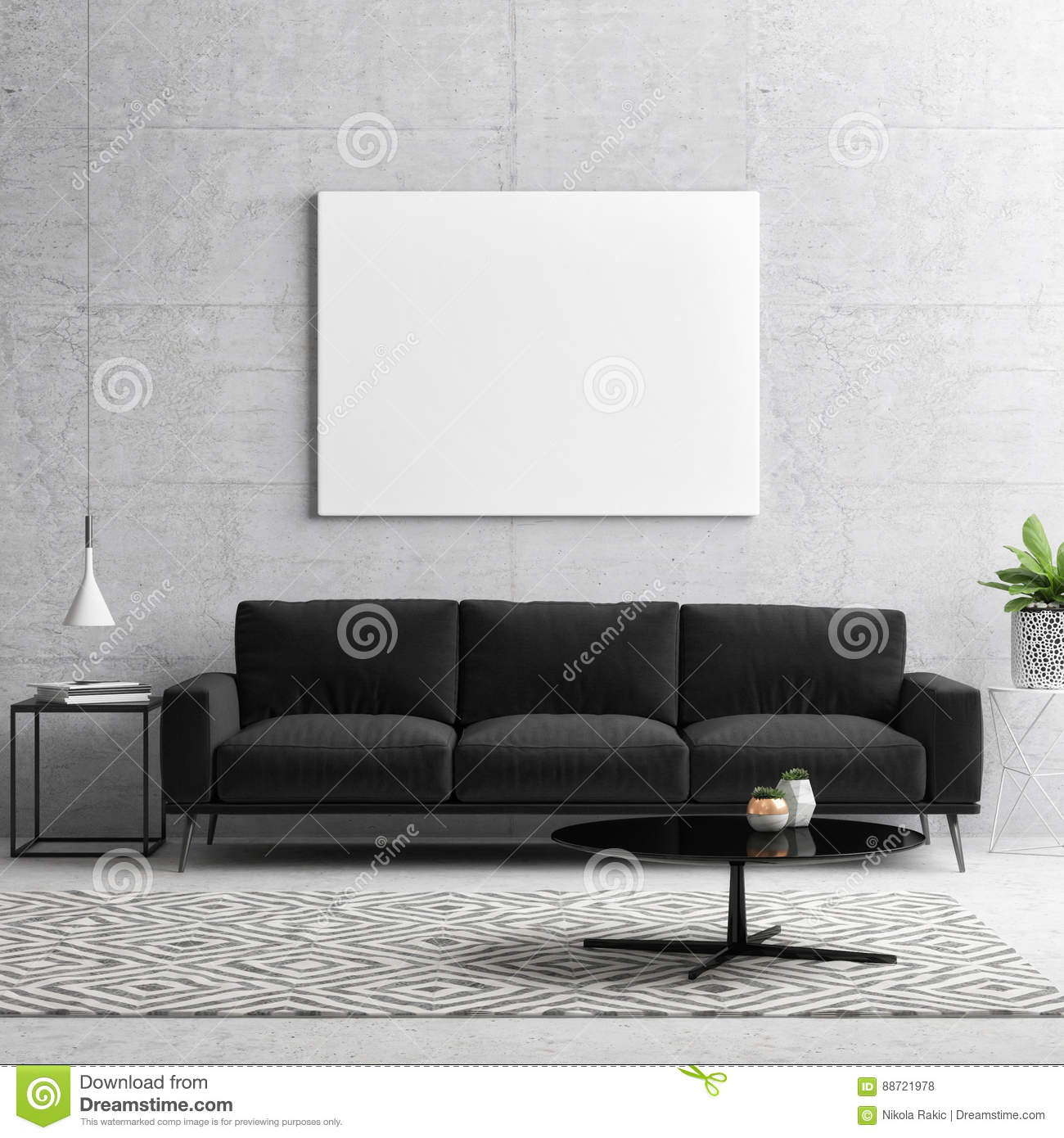 Mock Up Poster, Black And White Concept Living Room Stock ...