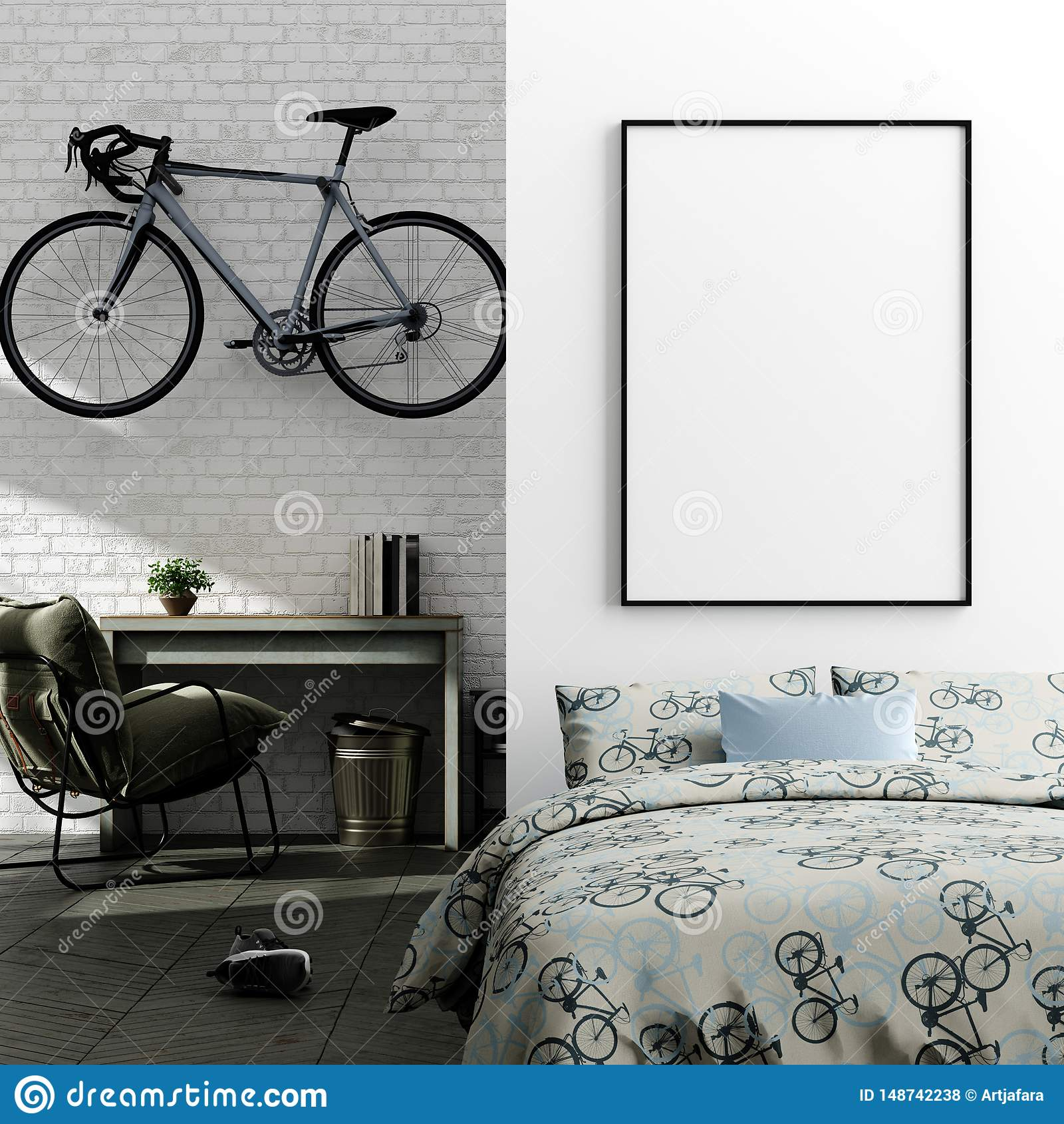 Mock Up Poster In Boy Teenage Bedroom Interior Background Industrial Style Stock Photo Image Of Bicycle Loft 148742238