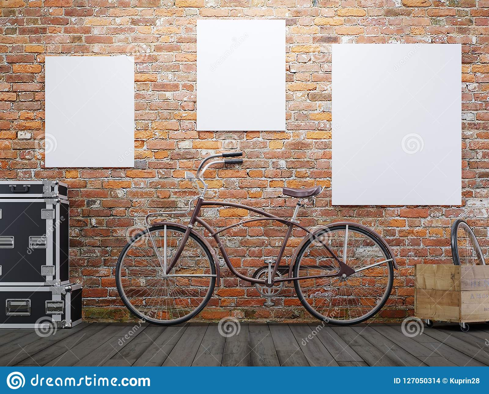 mock up poster and canvas in vintage hipster loft exterior background with bicycle.