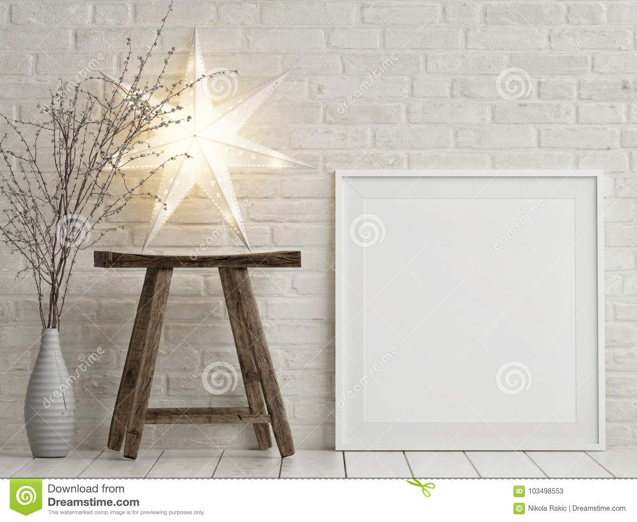 Mock Up Poster Christmas Decoration Wooden Chair And Stars Stock