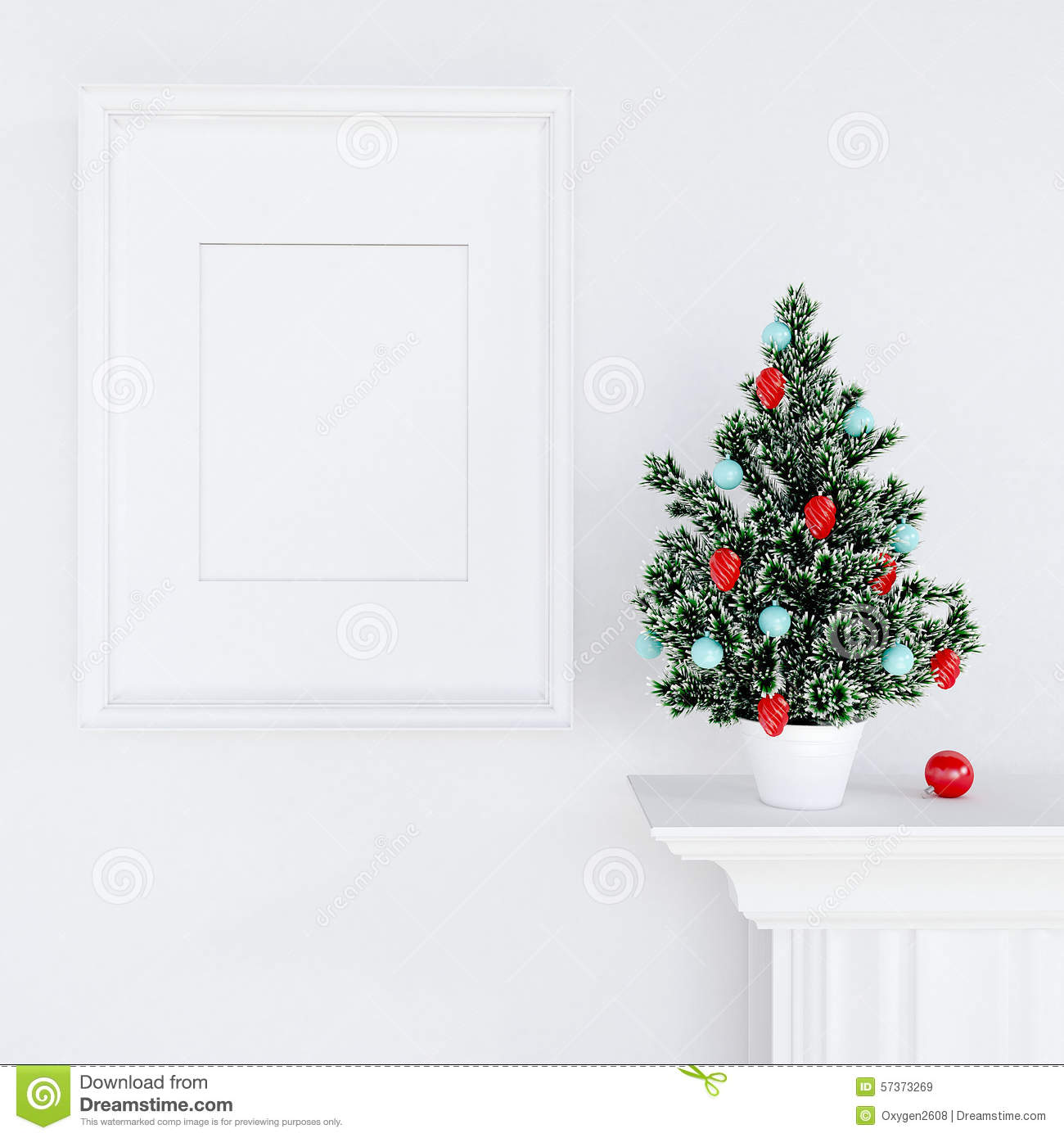 Mock Up Poster And Christmas Tree On A Dresser Stock Illustration Image 57373269