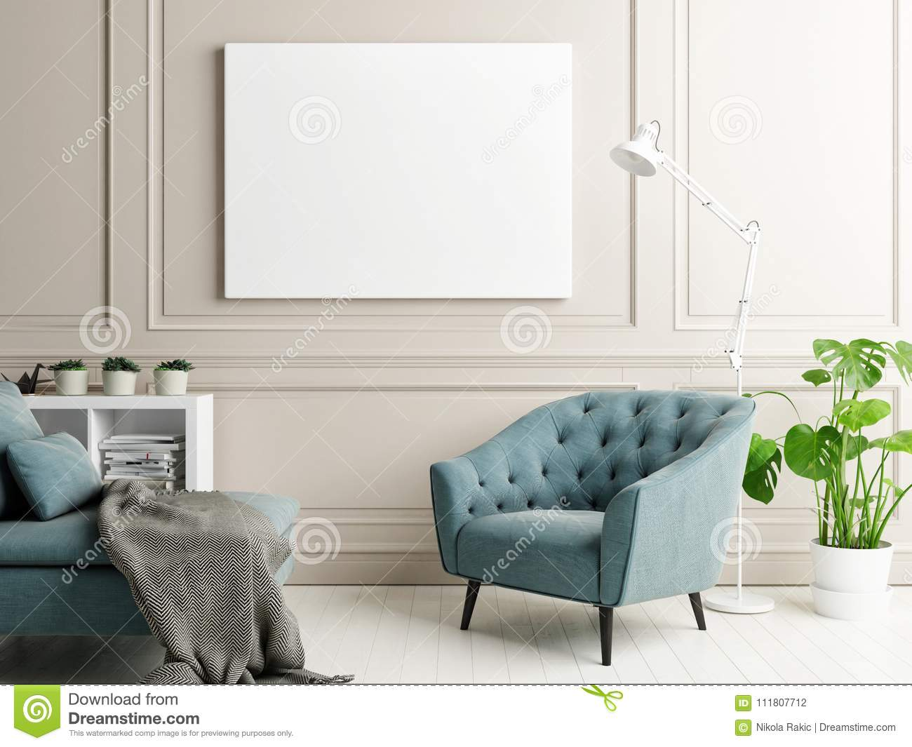 Mock Up Poster In Classic Interior Design,