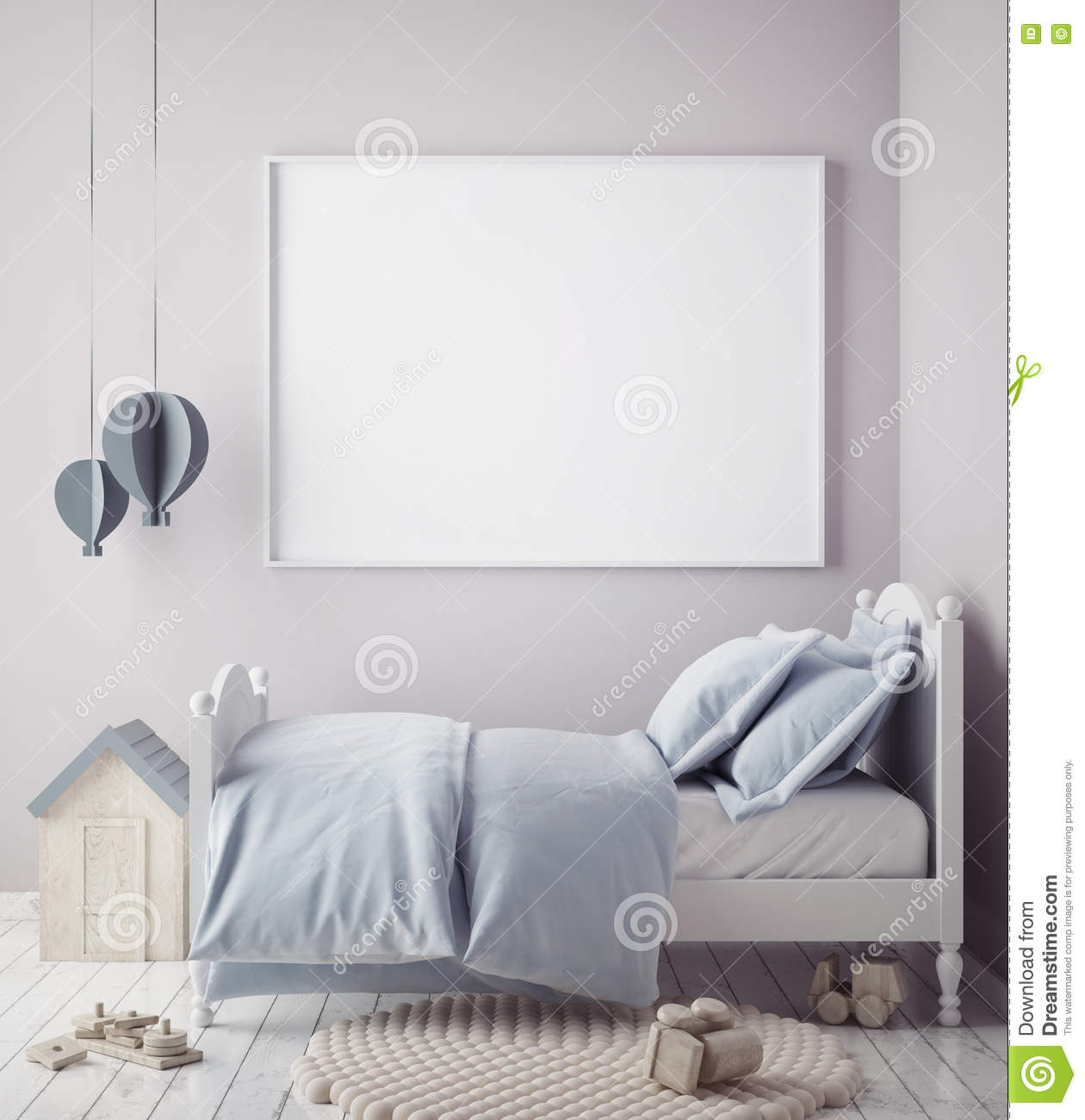 Mock up poster frame in baby boy room, scandinavian style interior background