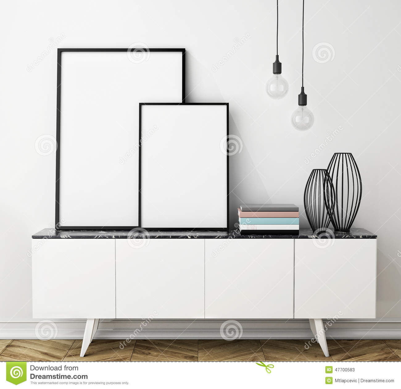 Mock up poster frame on chest of drawers interior stock - Interiors by design picture frames ...