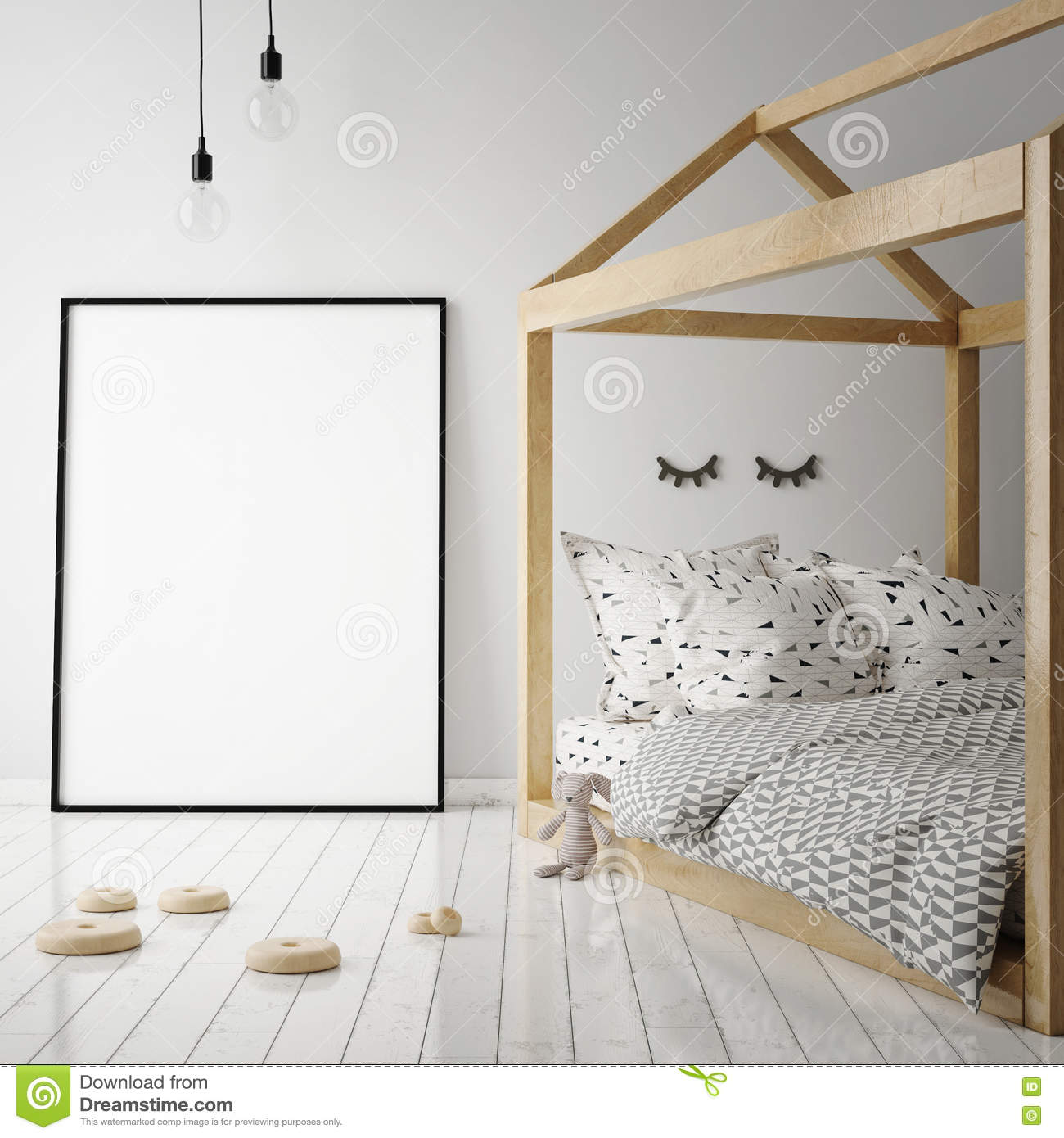 Scandinavian Style Kids Room: Mock Up Poster Frame In Children Room, Scandinavian Style