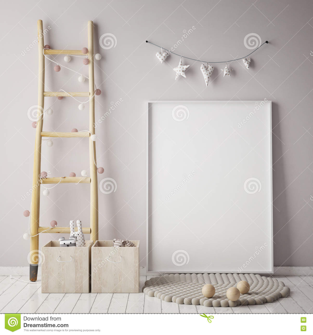 Mock Up Poster Frame In Children Room Scandinavian Style