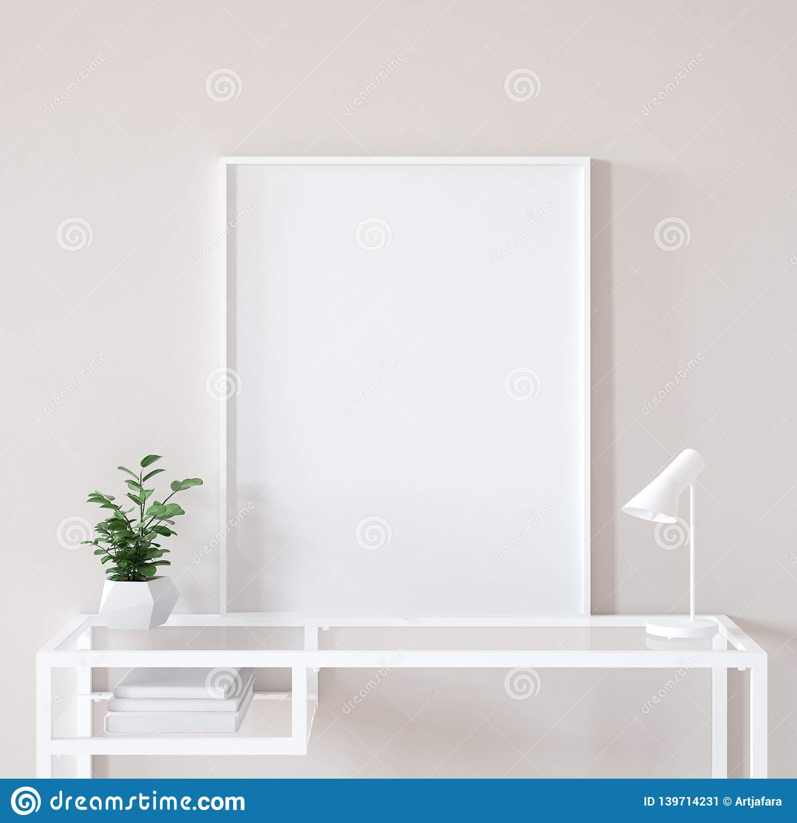 Mock up poster frame closeup in interior background, Scandinavian style
