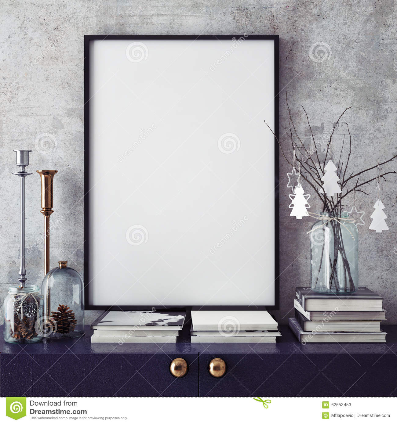 mock up poster frame in hipster interior backgroundchristamas decoration stock photos