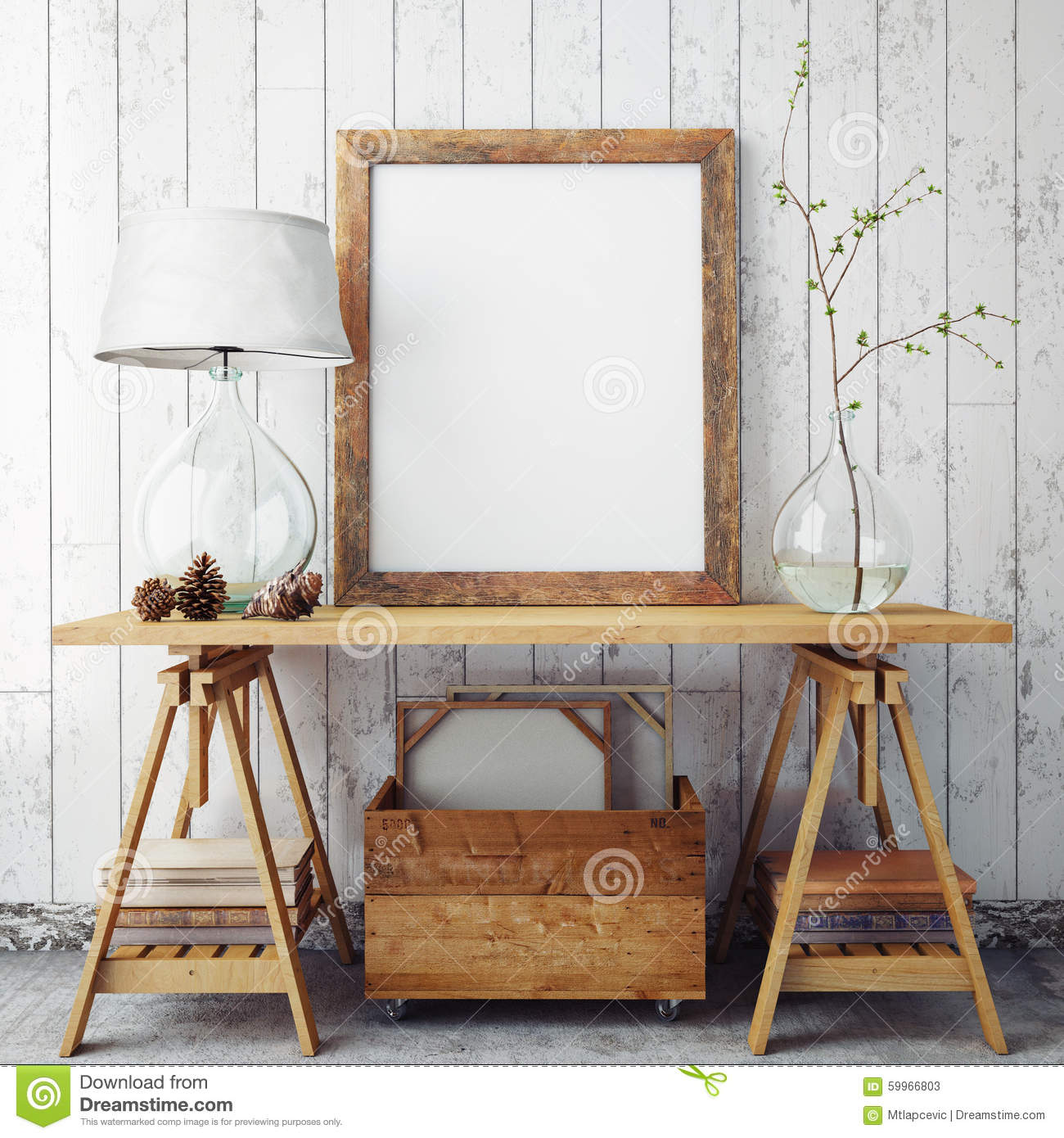 mock up poster frame in hipster interior background stock photos