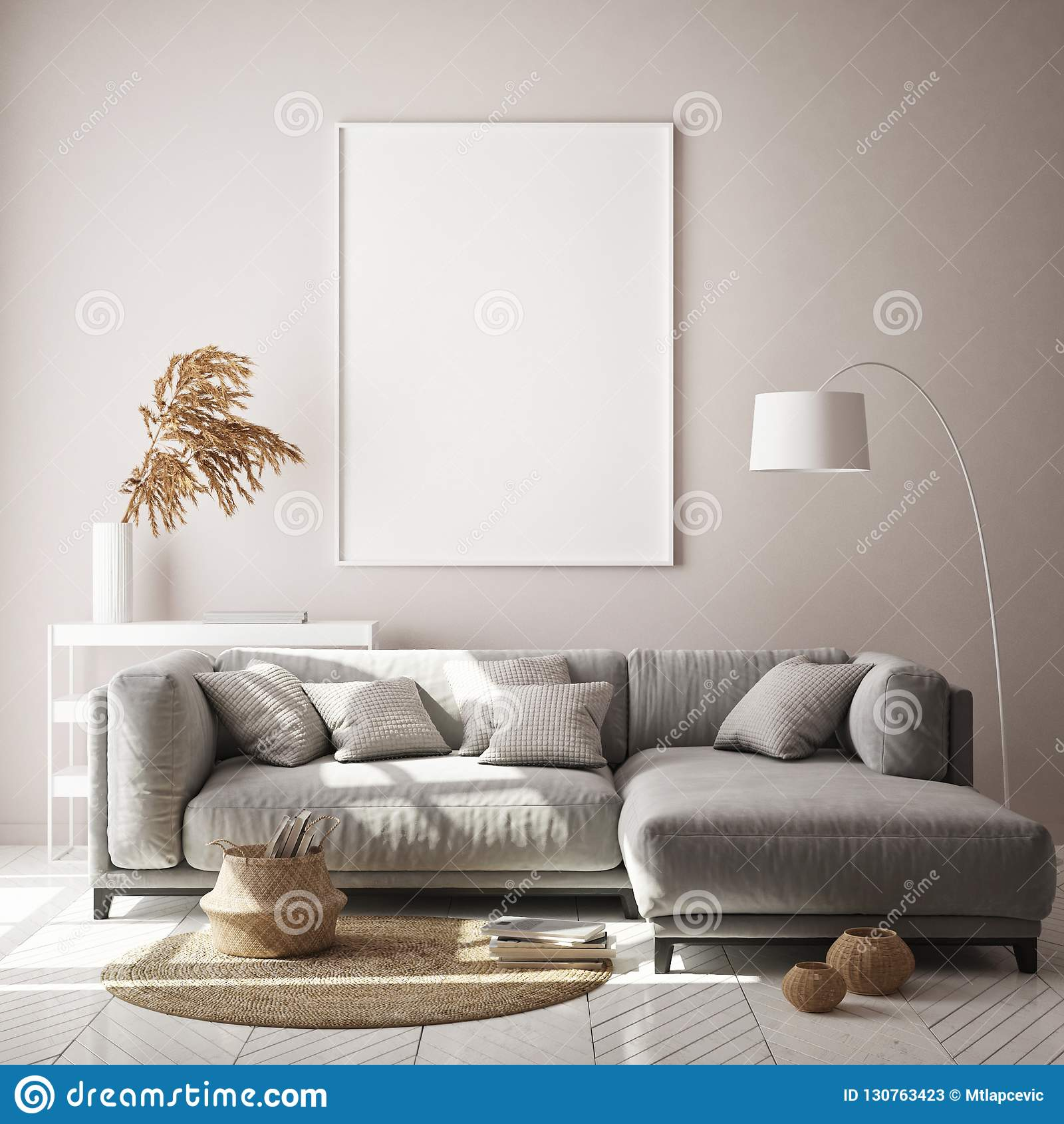 Mock up poster frame in hipster interior background, living room,Scandinavian style, 3D render, 3D illustration