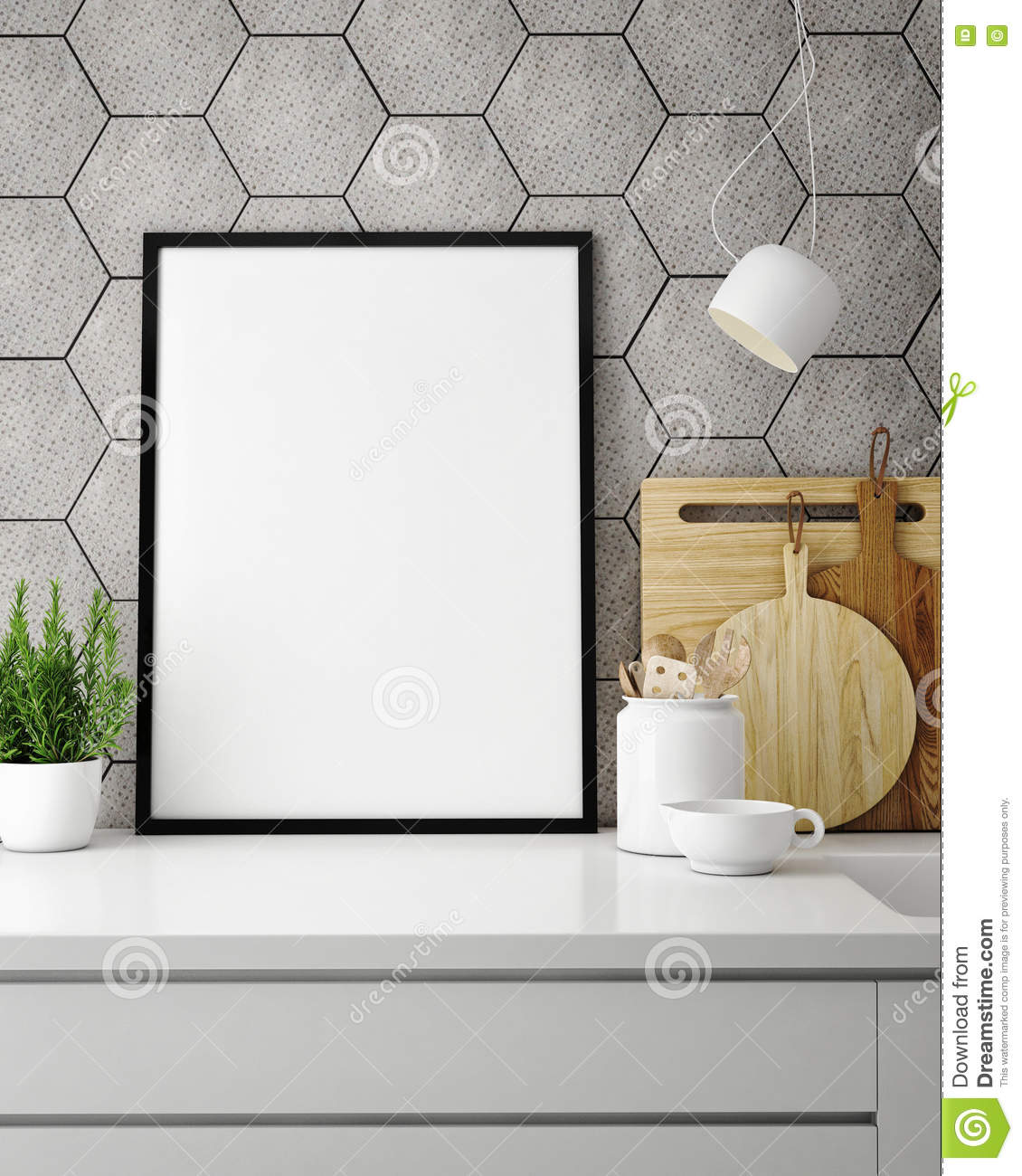 Excellent Mock Up Poster Frame In Hipster Kitchen, Interior Backround Stock  EX68