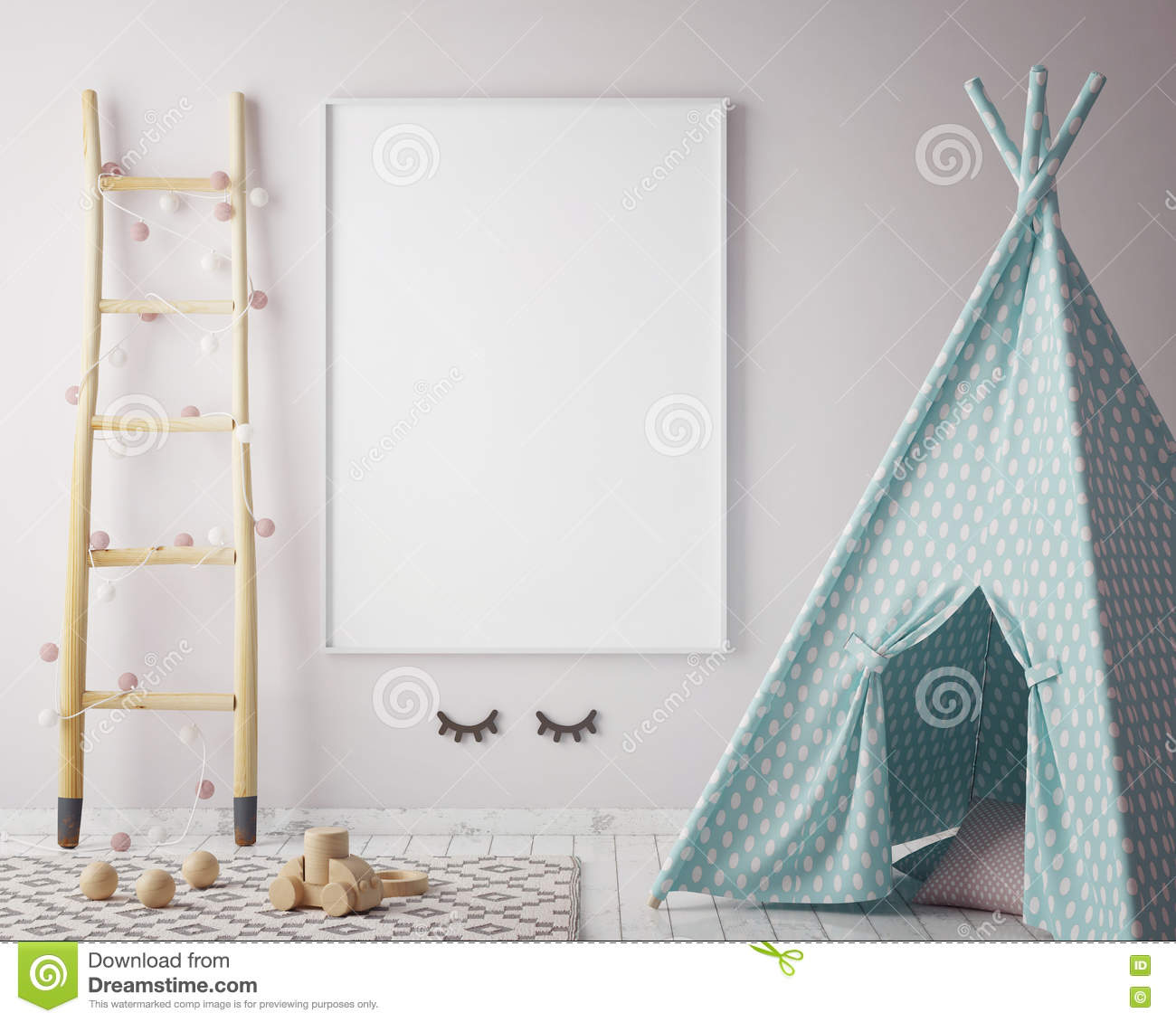 Mock up poster frame in hipster room, scandinavian style interior background, 3D render