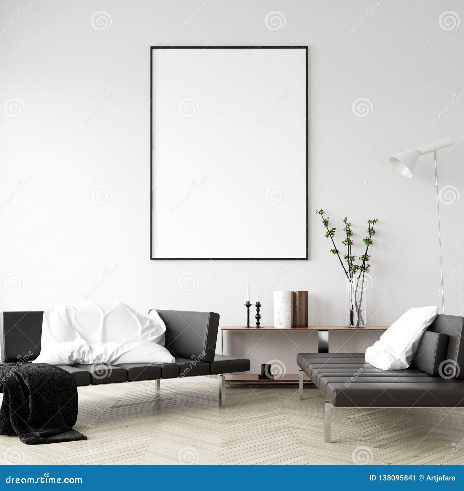 Mock Up Poster Frame In Home Interior Background Modern Style Living Room Stock Image Image Of Mock Decor 138095841