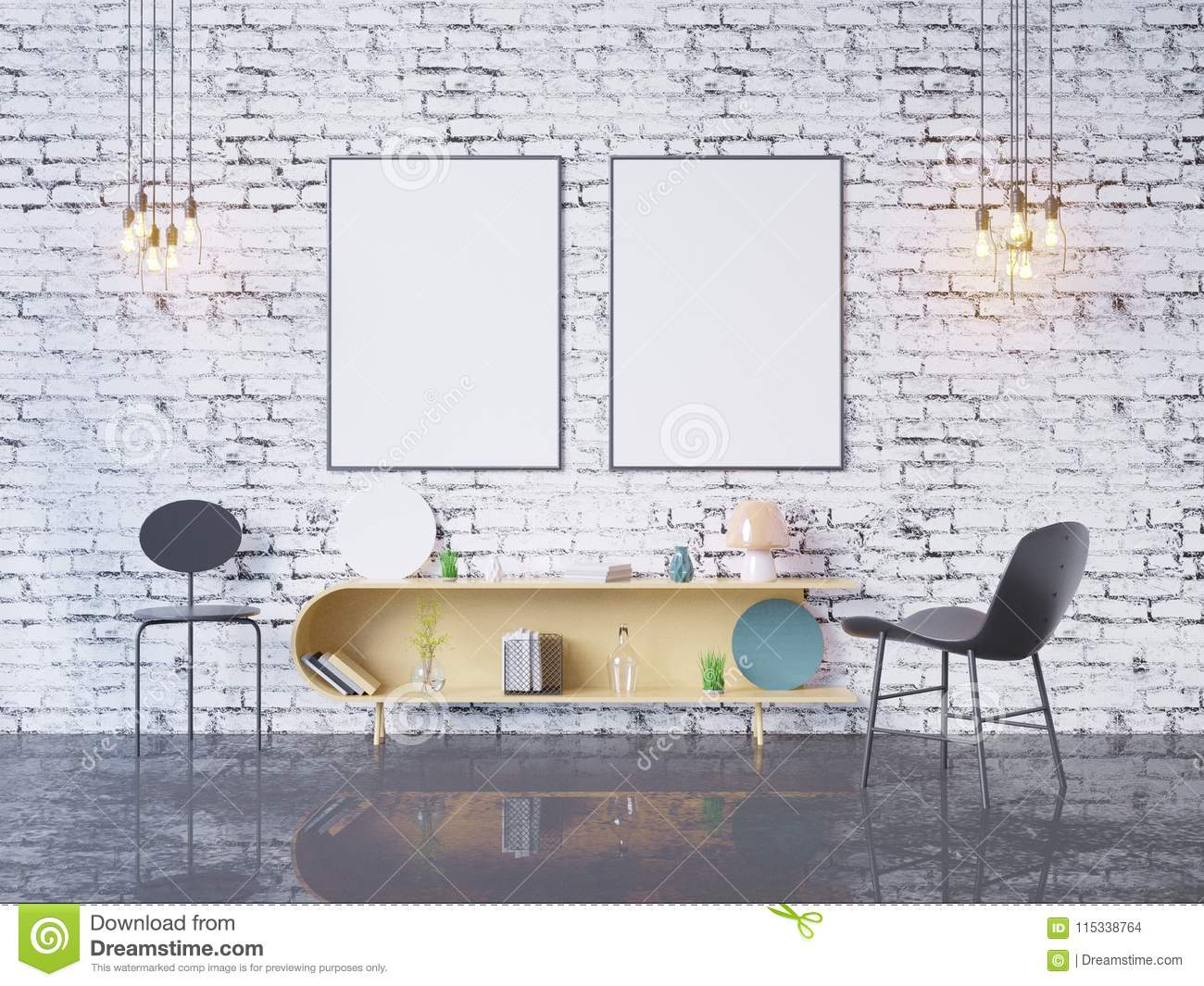 Mock Up Poster Frame In Home Office Interior Background 3d Render