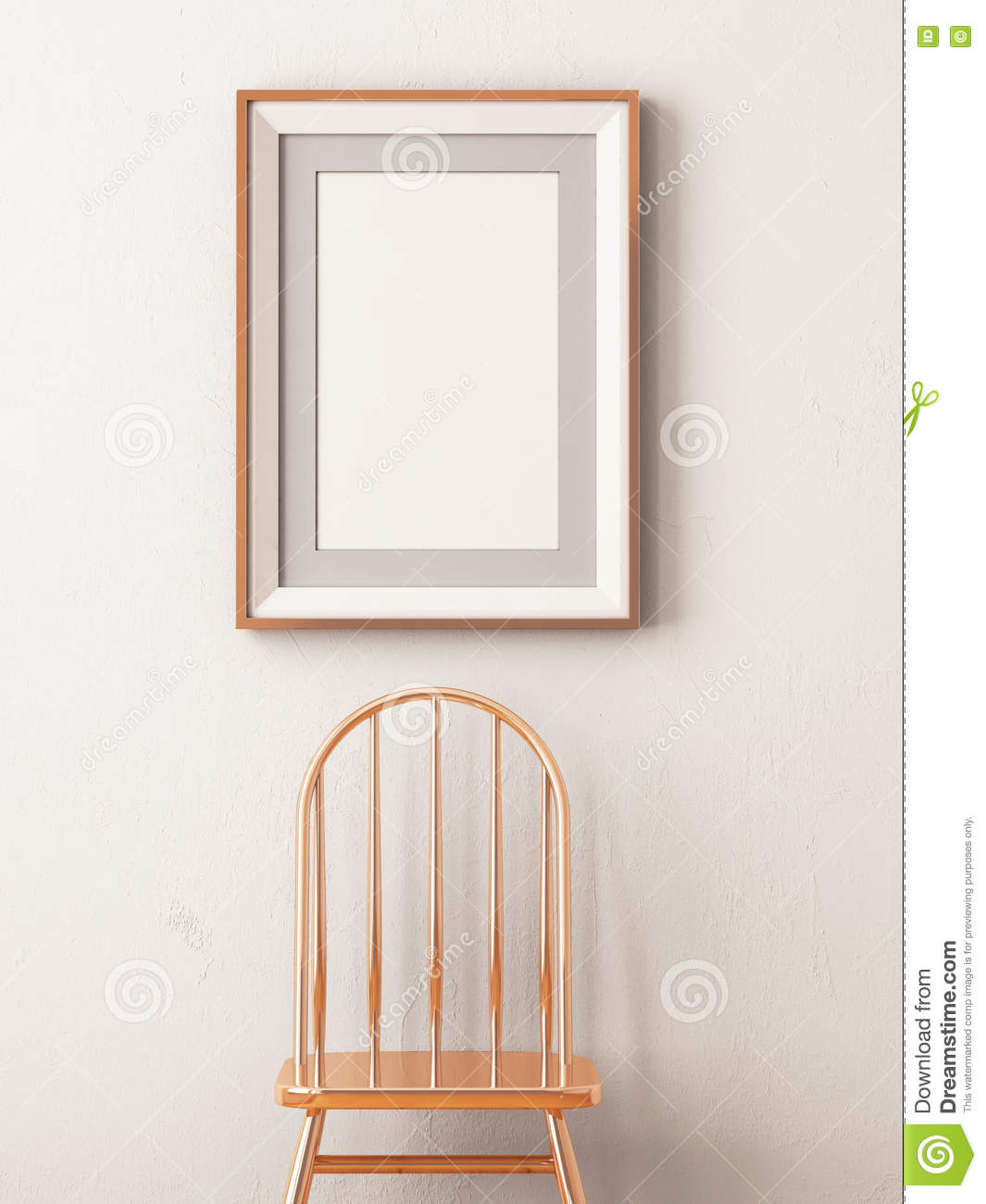 Mock Up Poster In A Frame In The Interior With A Copper Stool ...
