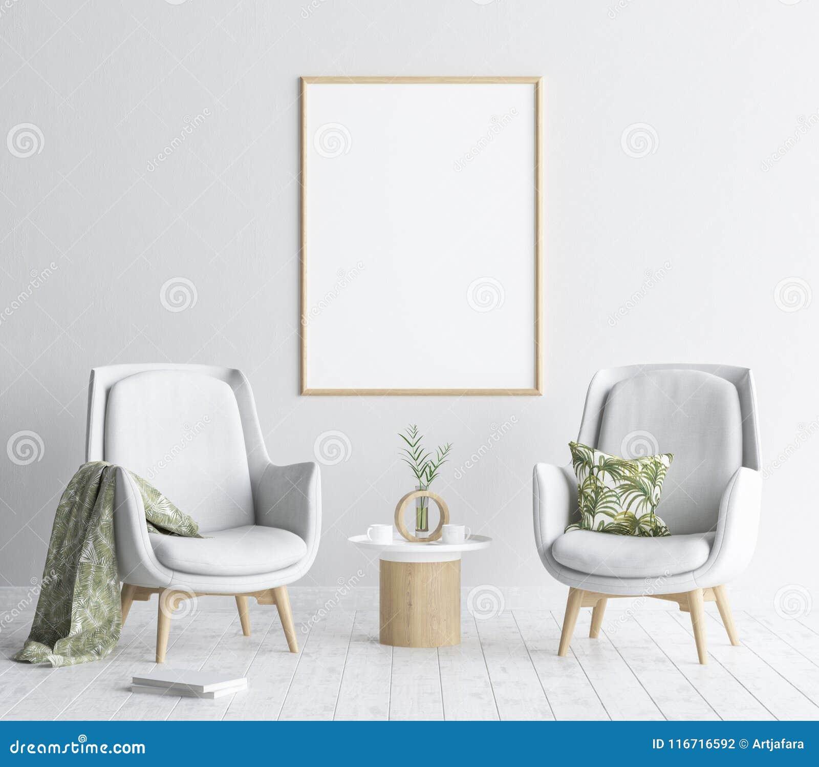 Mock up poster frame in living room background, Scandinavian style interior