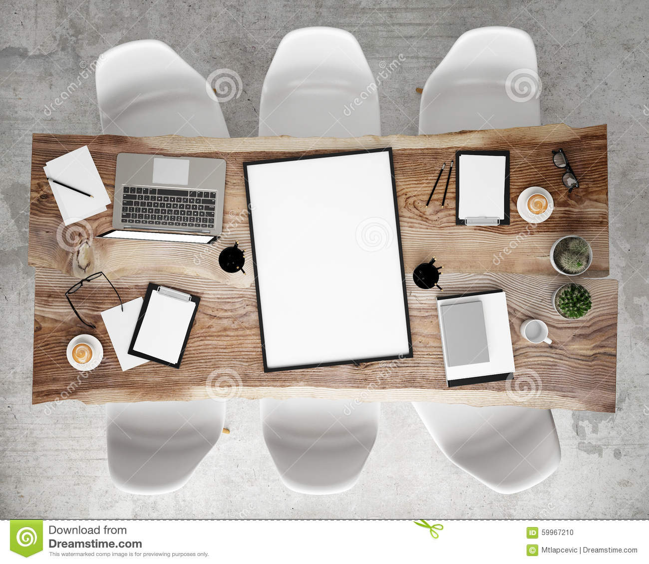 mock up poster frame on meeting conference table with office accessories and laptop computers hipster