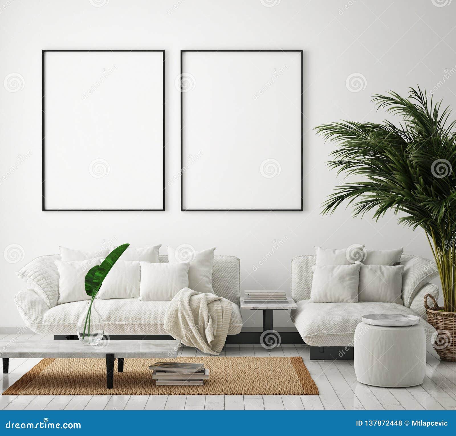 Mock Up Poster Frame In Modern Interior Background Living Room Scandinavian Style 3d Render Stock Illustration Illustration Of Black Creative 137872448