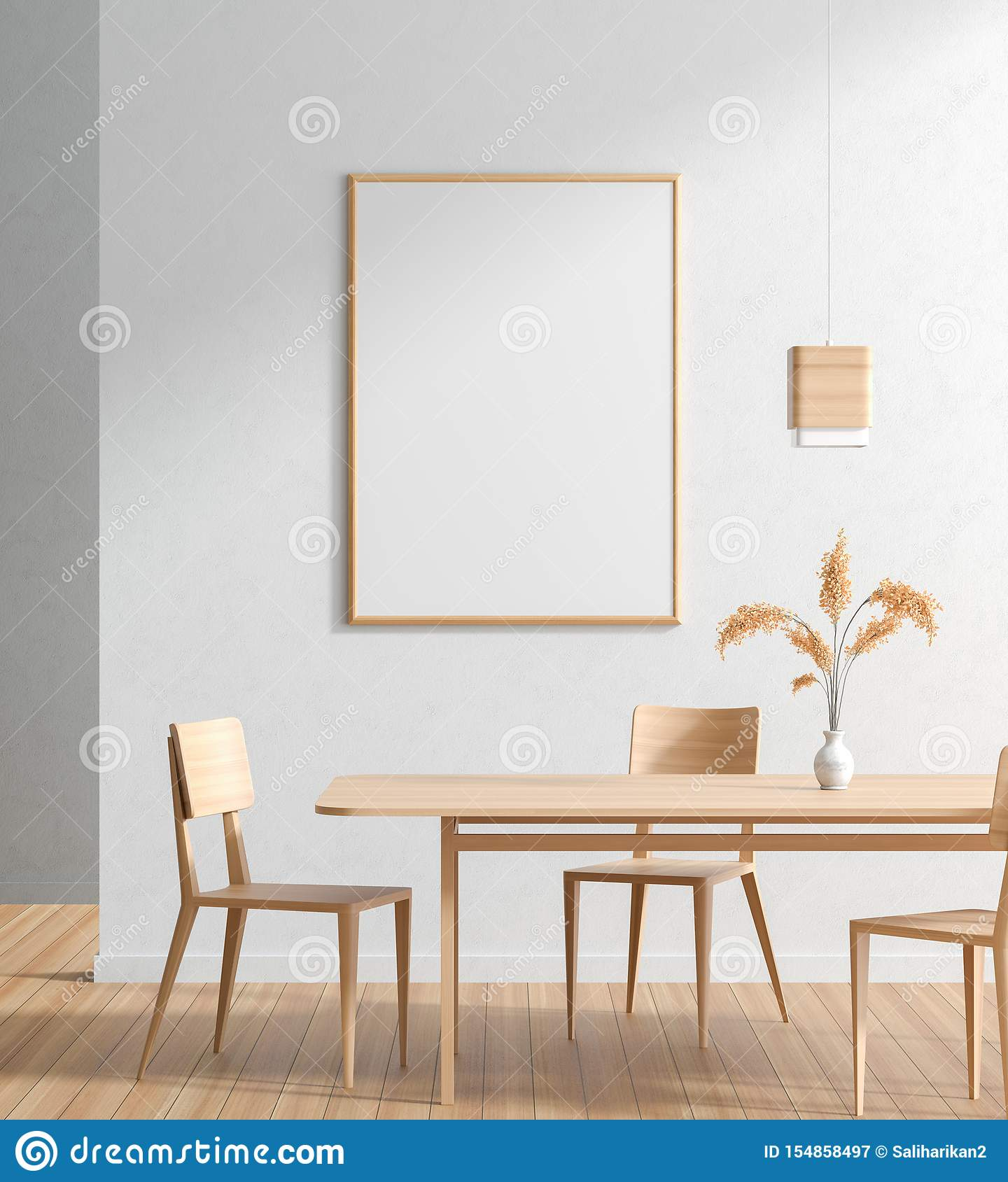 Mock Up Poster Frame In Scandinavian Style Dining Room With