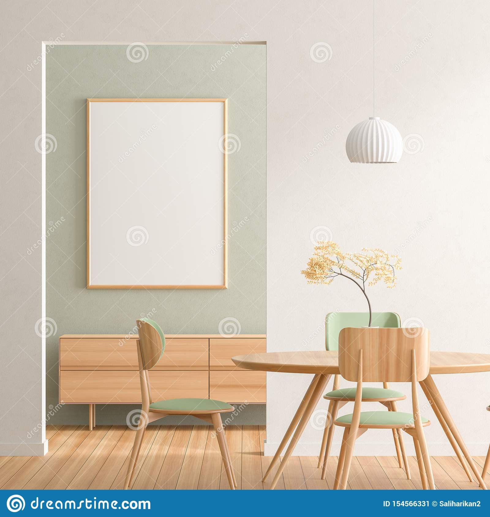 Mock Up Poster Frame In Scandinavian Style Dining Room With Wooden Chairs And Table Minimalist Dining Room Design 3d Stock Illustration Illustration Of Estate House 154566331