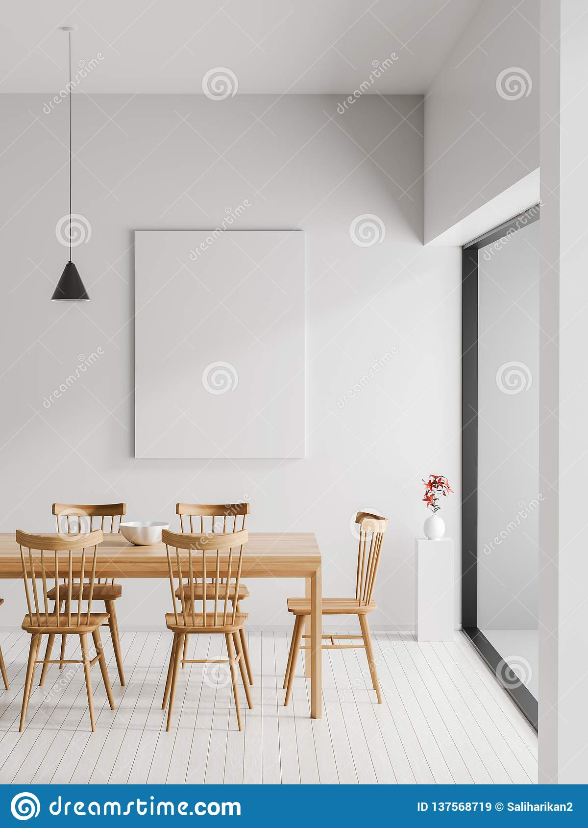 Mock up poster frame in Scandinavian style hipster interior. Minimalist modern dining room. 3D illustration