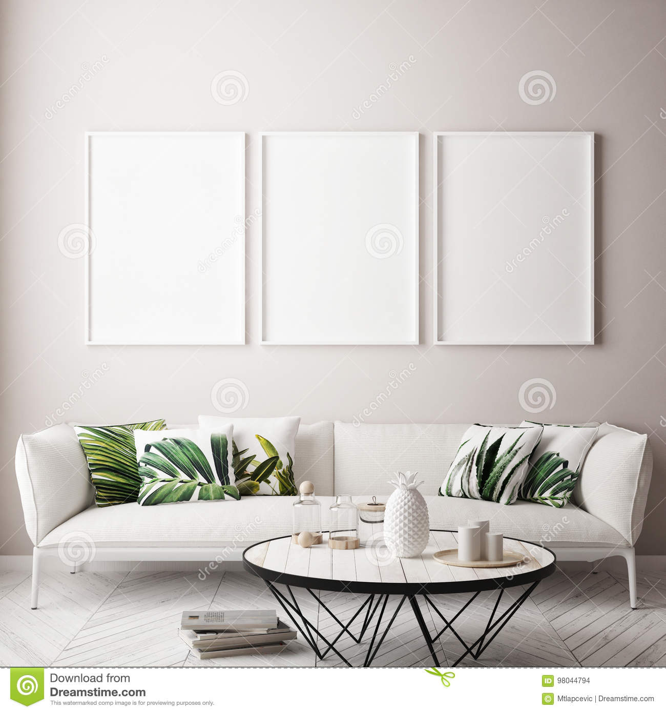Mock up poster frame in tropical interior background, modern Caribbean style