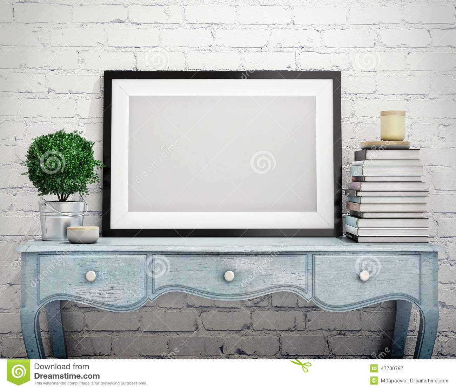 Mock up poster frame on vintage chest of drawers, interior