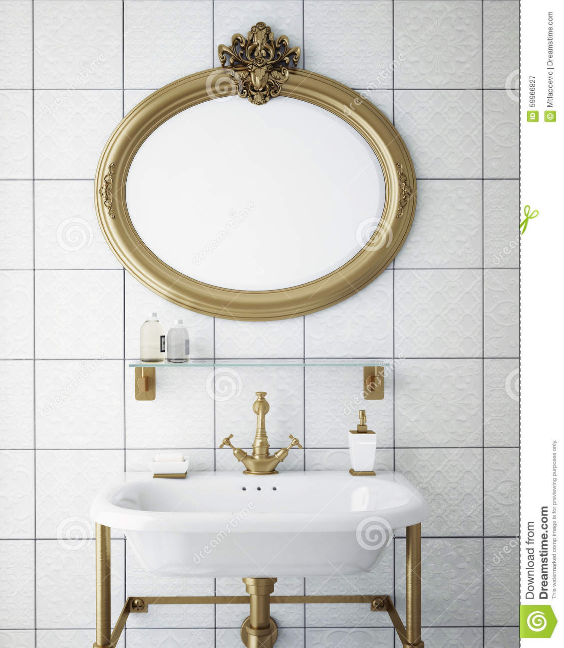 Download Mock Up Poster Frame In Vintage Hipster Bathroom Interior Background Stock Image