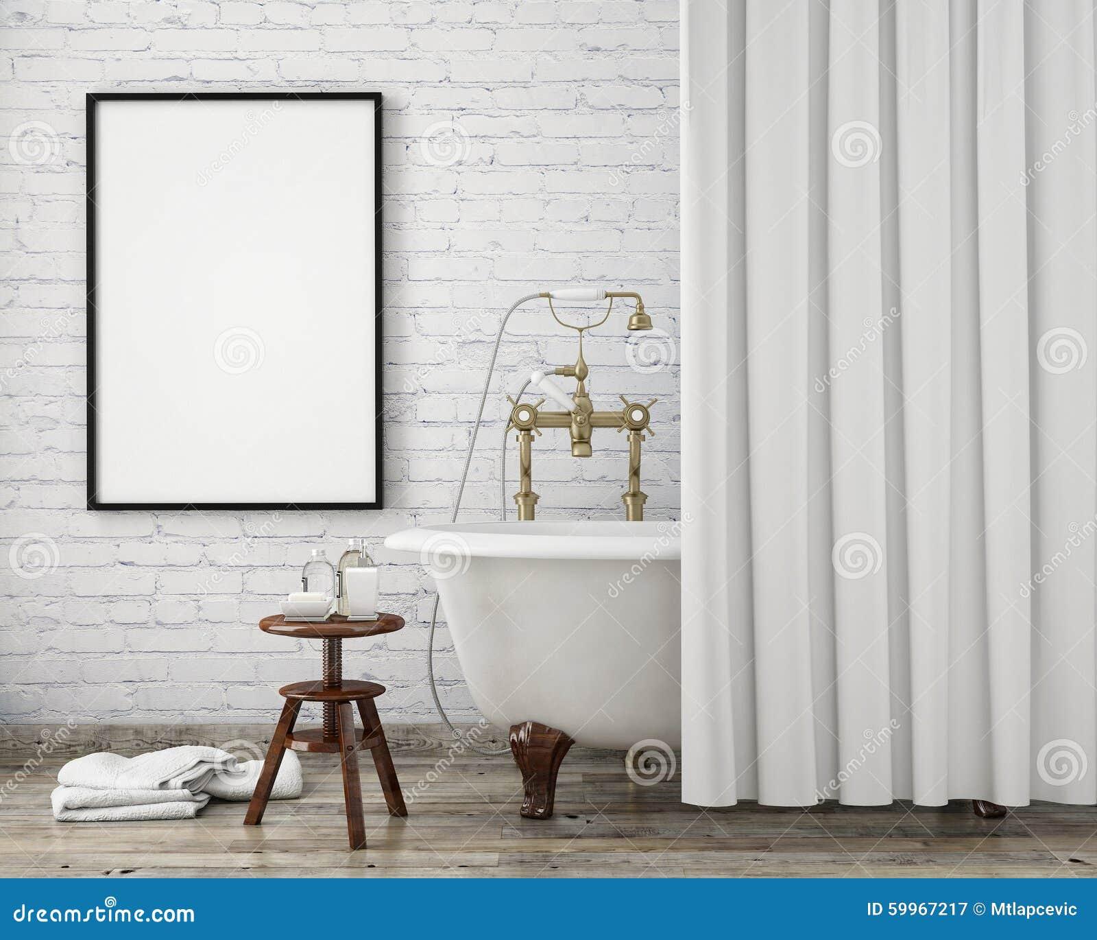 Mock up poster frame in vintage hipster bathroom, interior background,