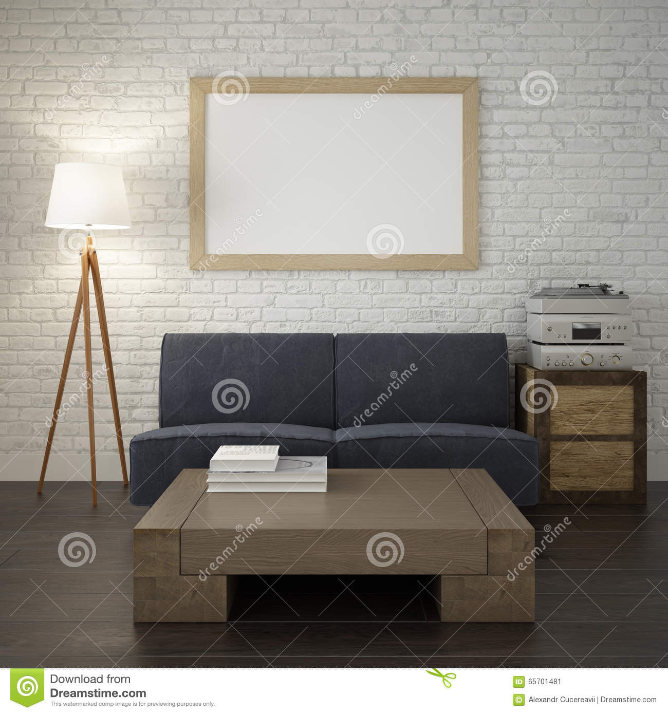 Mock Up Poster Frame On The White Brick Wall Of Living Room Stock Image