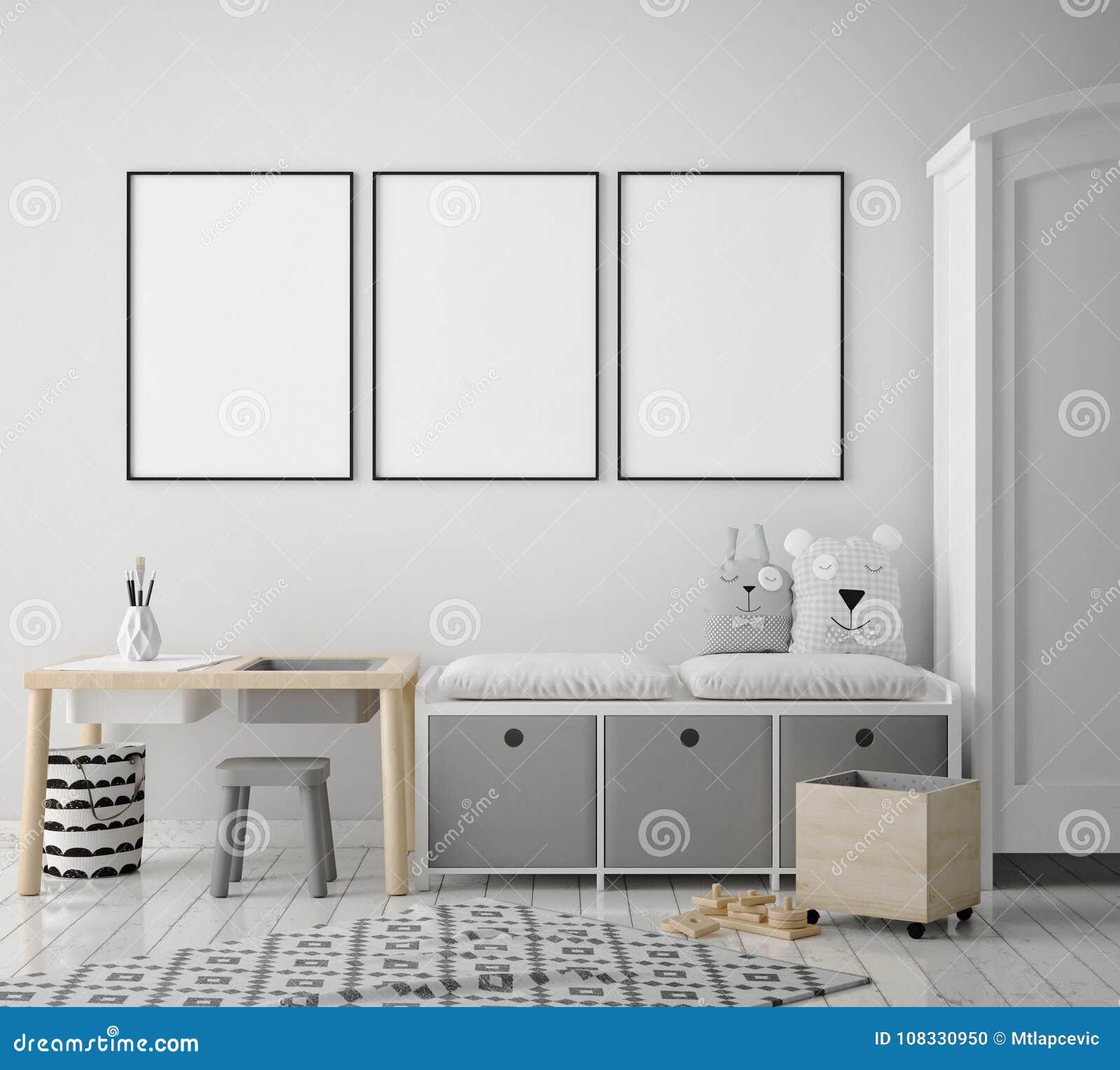 Mock up poster frames in children bedroom, scandinavian style interior background, 3D render