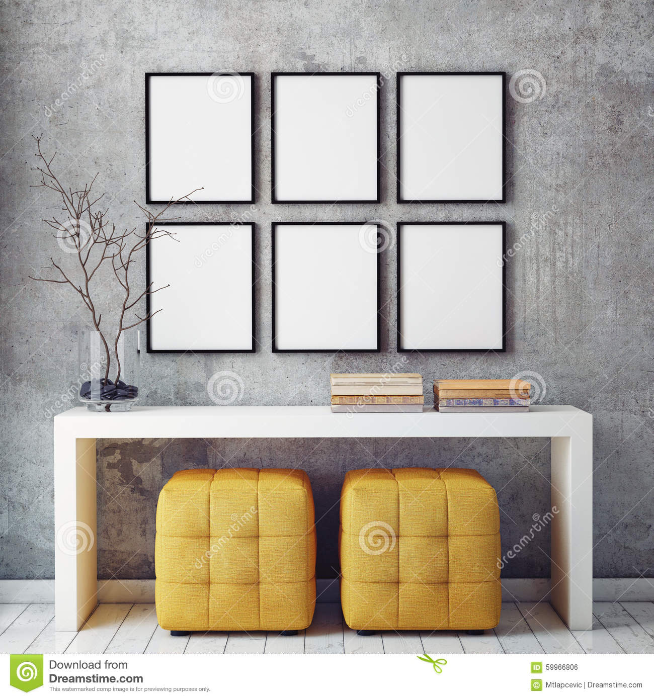 Mock Up Poster Frames In Hipster Interior Background