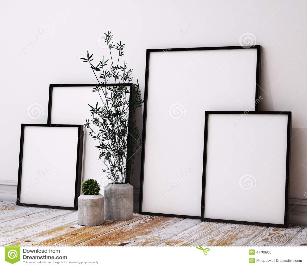 Mock Up Poster Frames In Hipster Loft Interior Stock Illustration ...