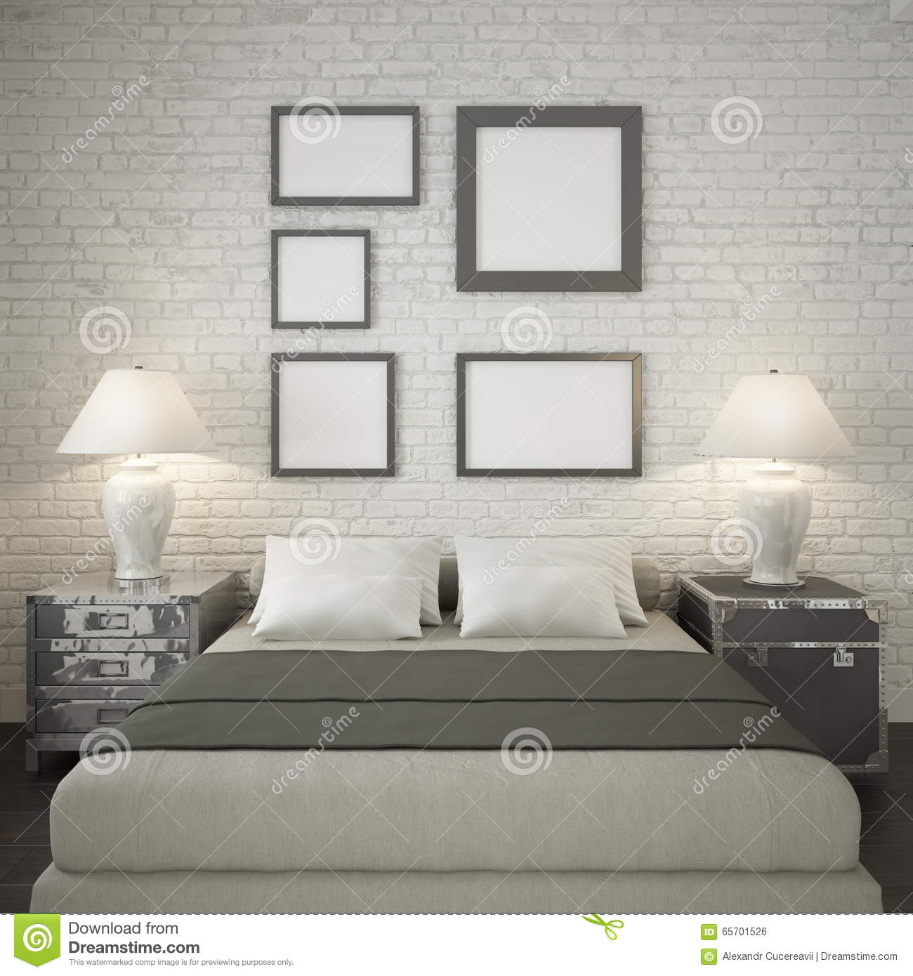 Mock Up Poster Frames At The White Brick Wall Of Bedroom