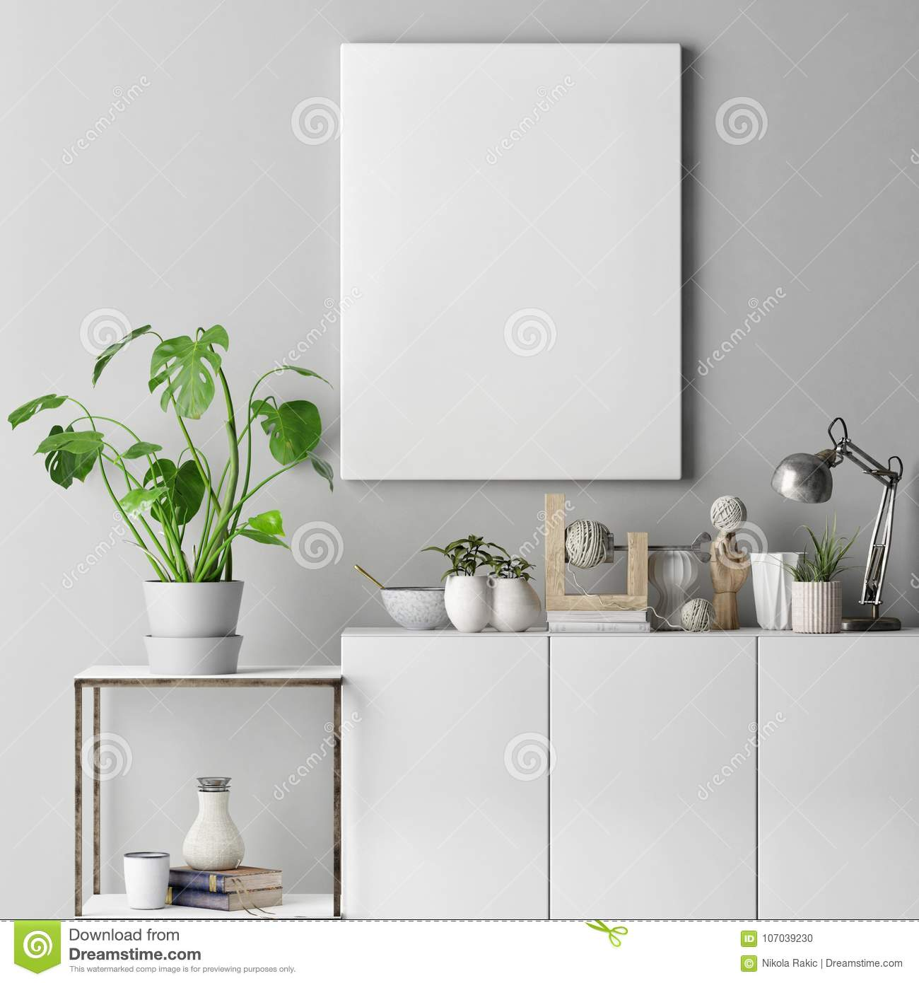 Mock up poster on gray wall with decoration set