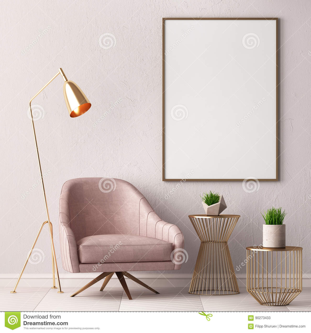 Awe Inspiring Mock Up Poster In The Interior With A Chair And A Table 3D Uwap Interior Chair Design Uwaporg