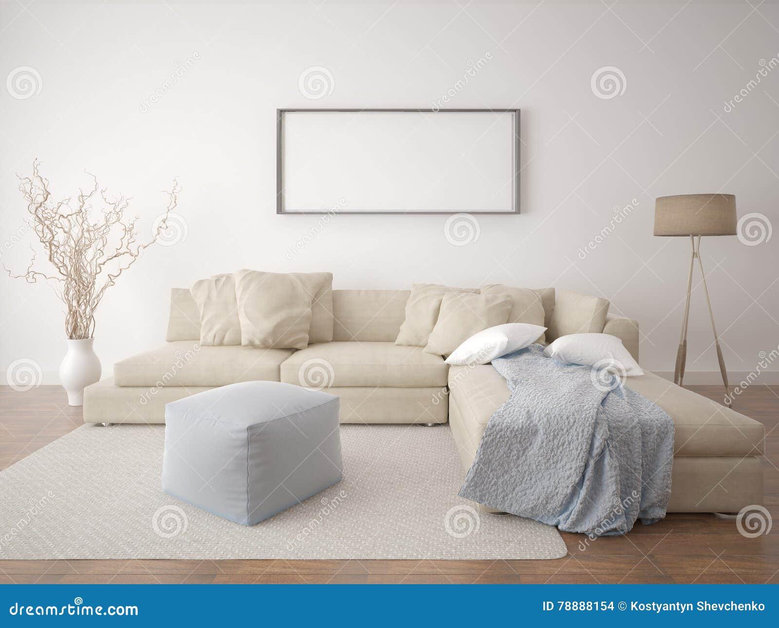 Mock Up Poster Living Room. Stock Illustration - Illustration of ...