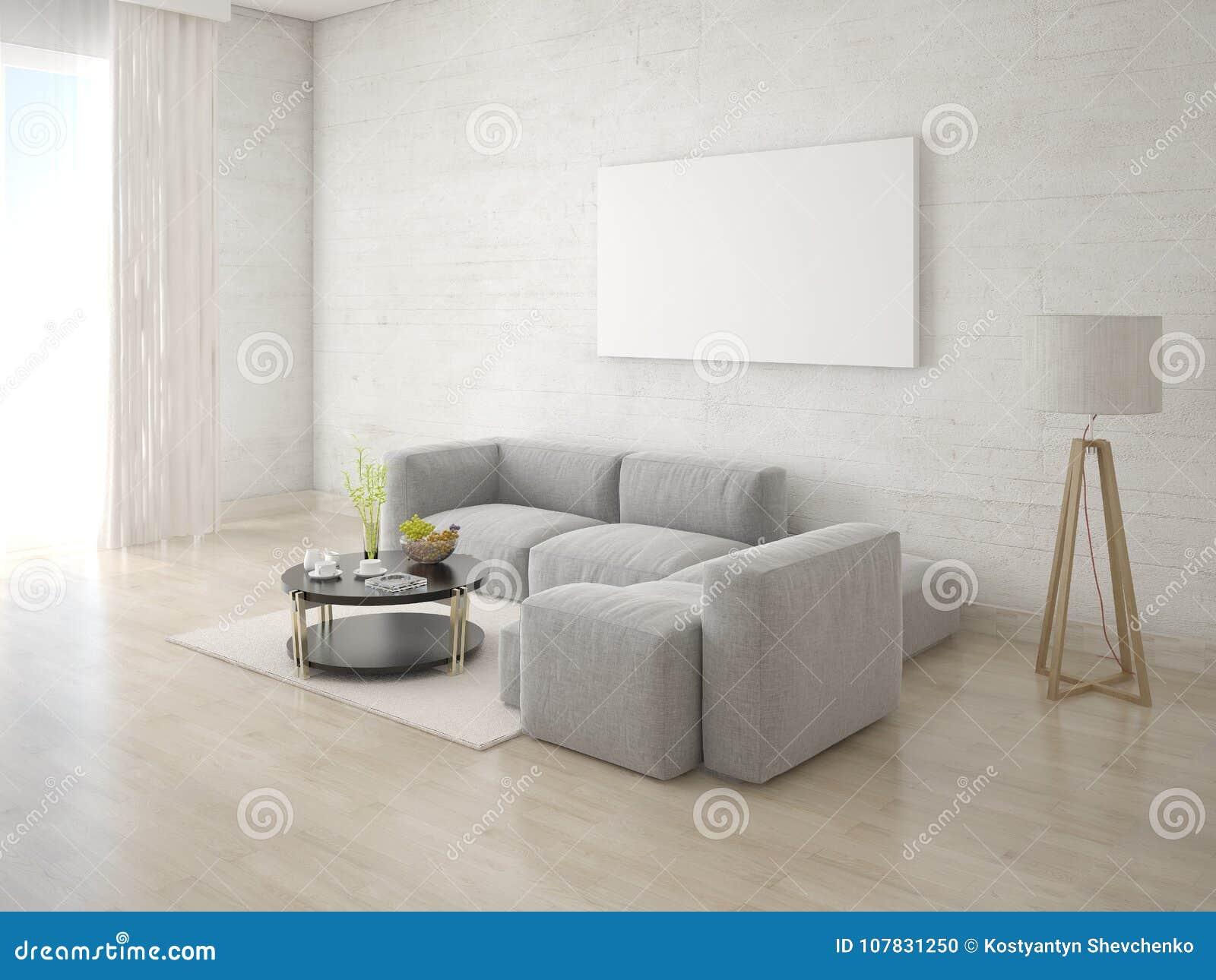 Mock Up Poster Living Room With Corner Sofa. Stock Illustration ...