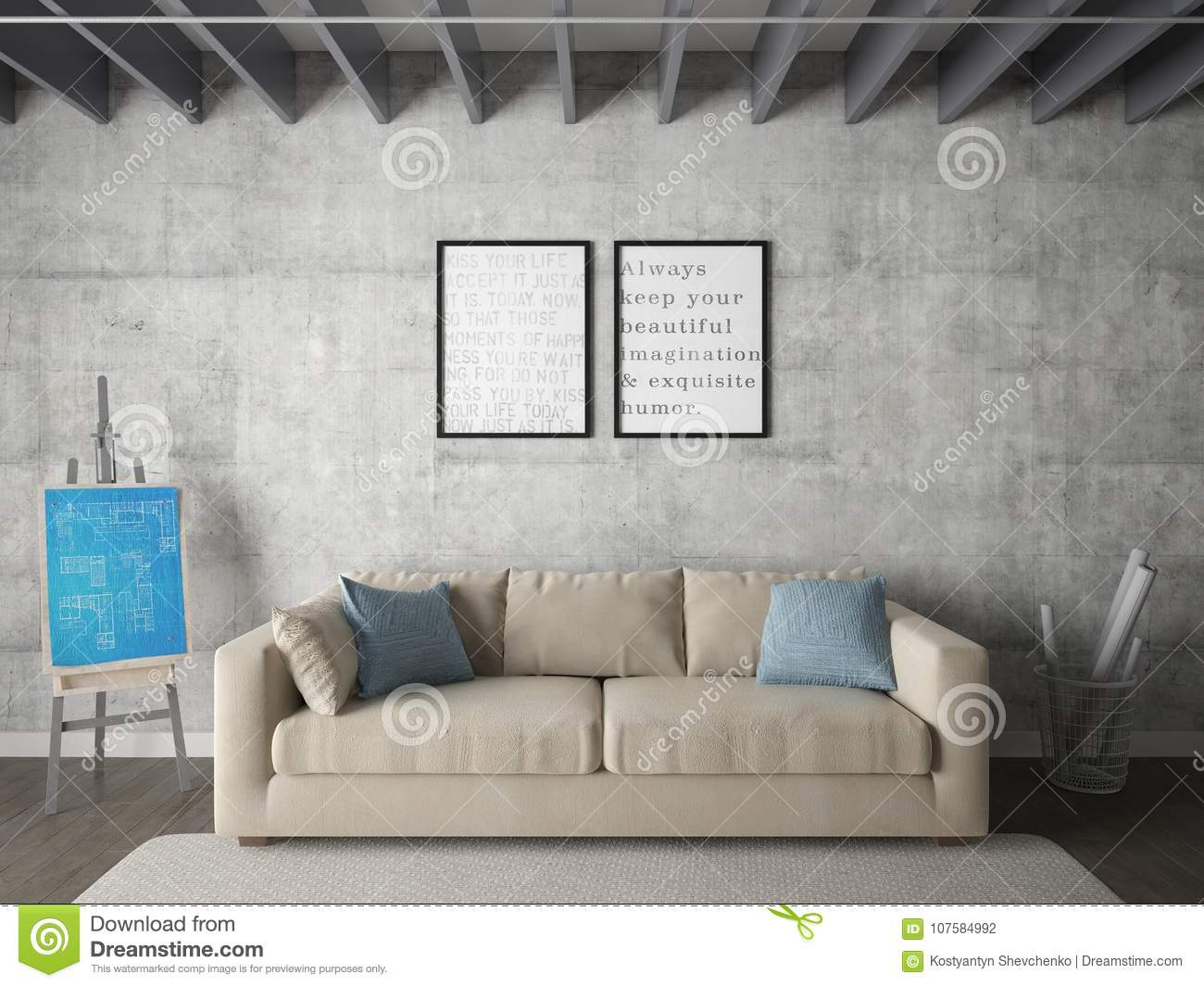 Mock Up Poster Living Room With Two Stylish Frames Stock